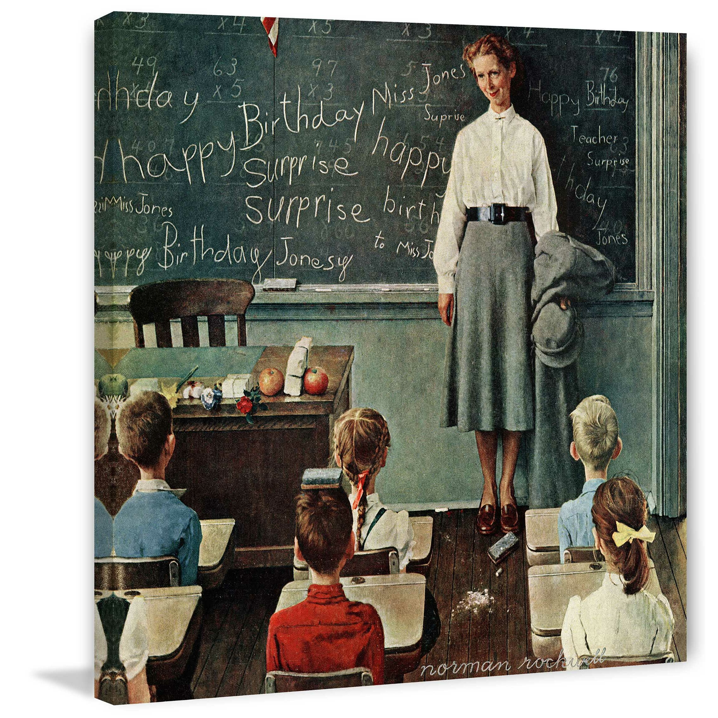 Happy Birthday Miss Jones By Norman Rockwell Painting