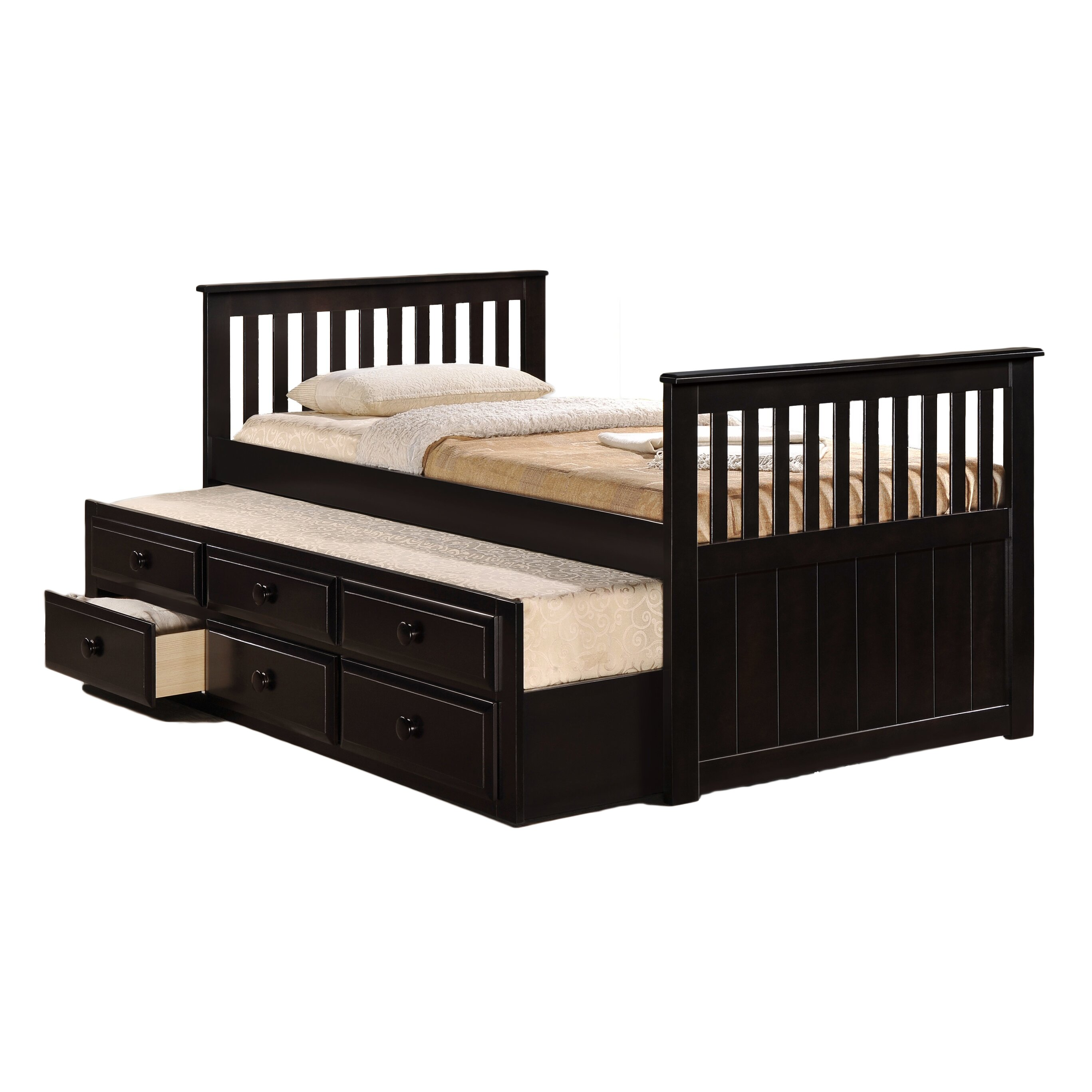 milton green star riley twin captain bed with storage reviews wayfair. Black Bedroom Furniture Sets. Home Design Ideas