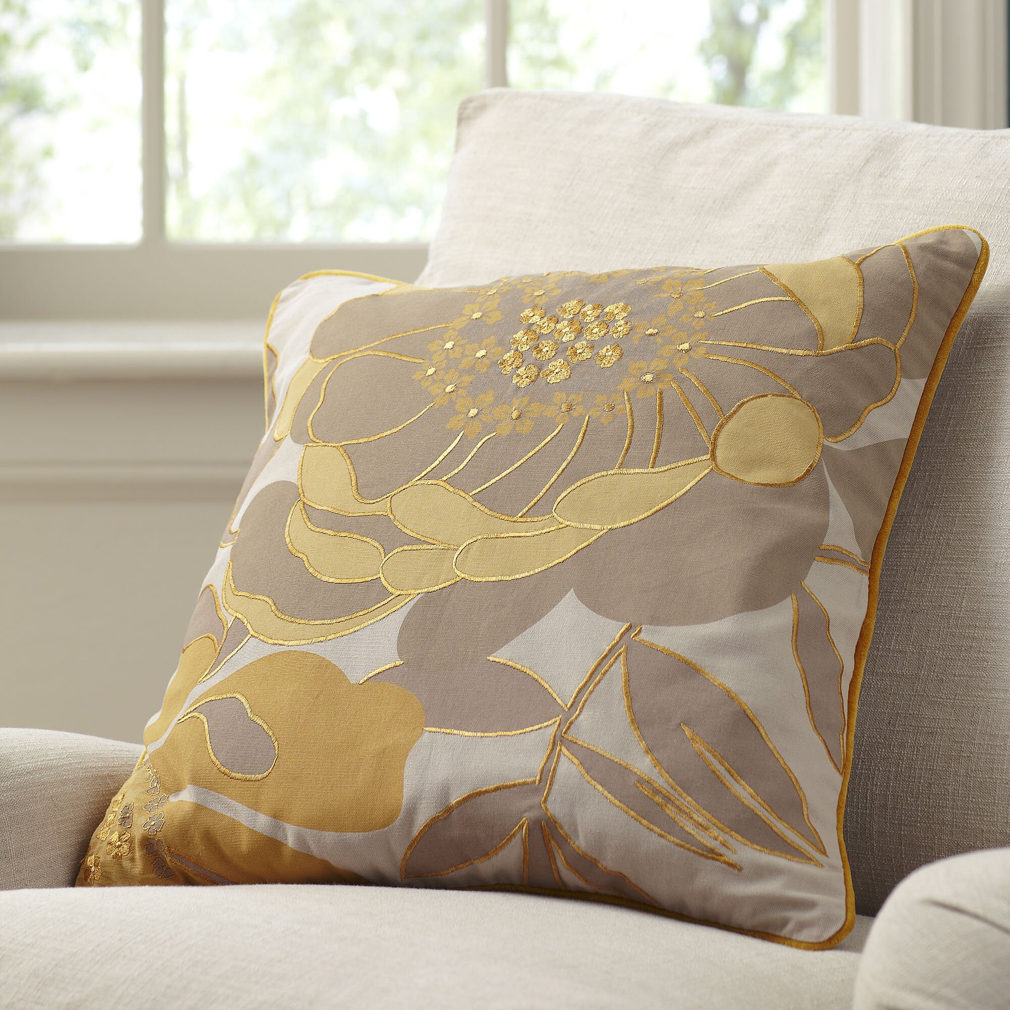 Birch Lane Lacie Embroidered Throw Pillow Cover & Reviews Wayfair