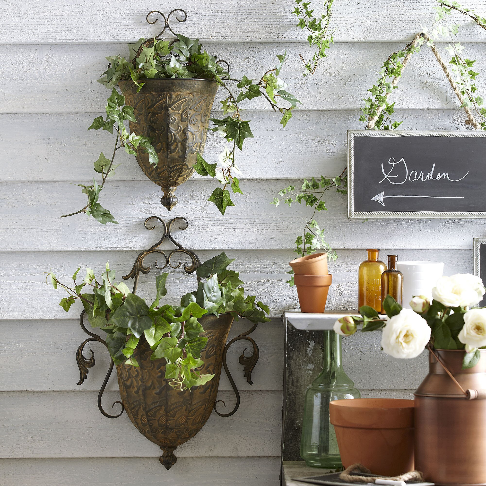 birch lane metal wall planters reviews wayfair. Black Bedroom Furniture Sets. Home Design Ideas