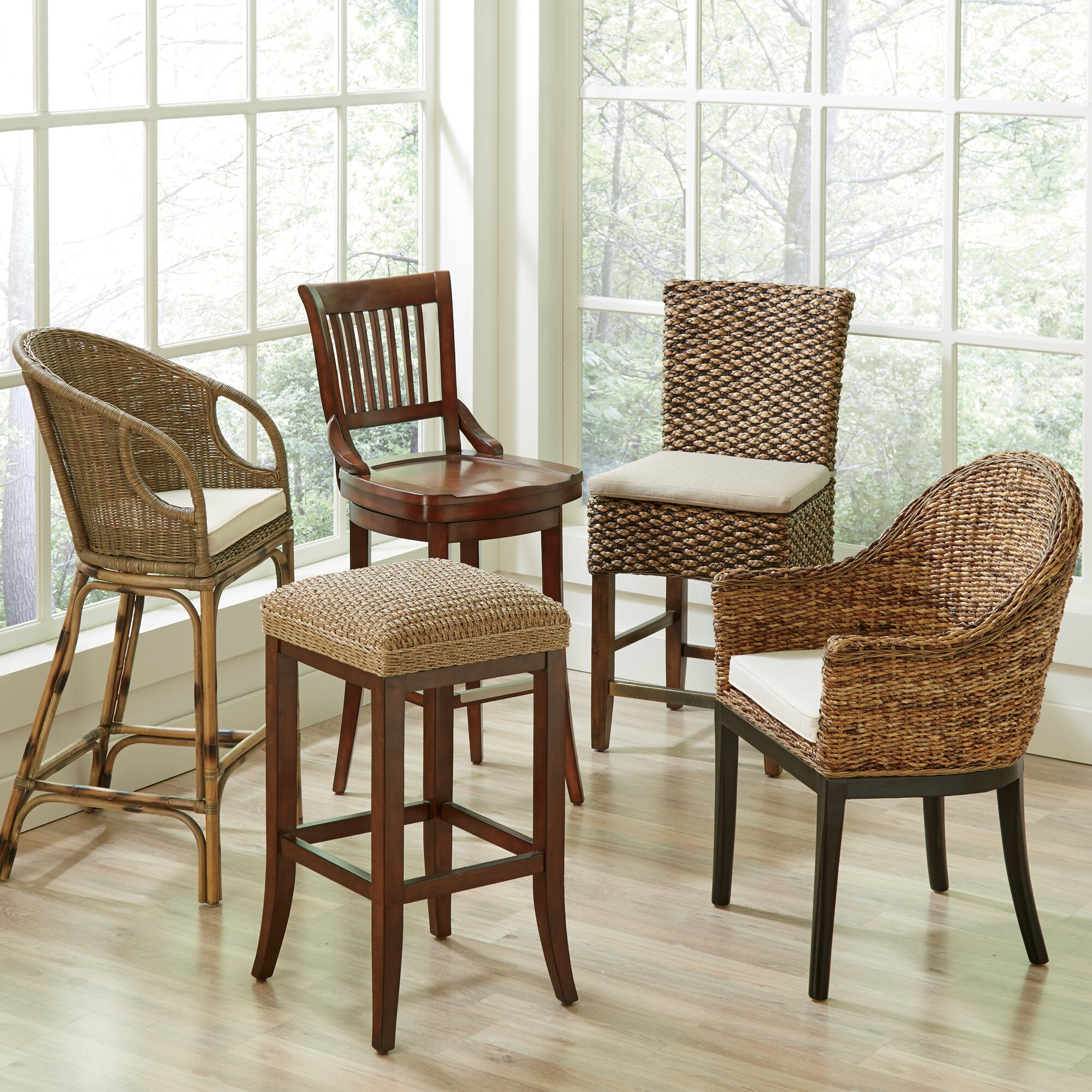 woven seagrass bar stools