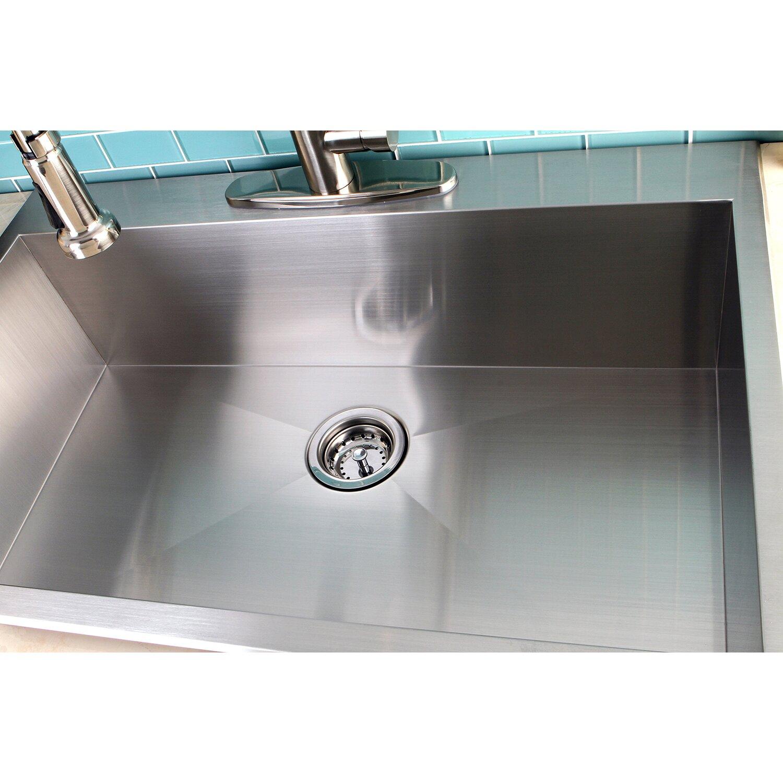 kingston brass uptowne 33 x 22 self rimming single bowl kitchen s - Brass Kitchen Sink