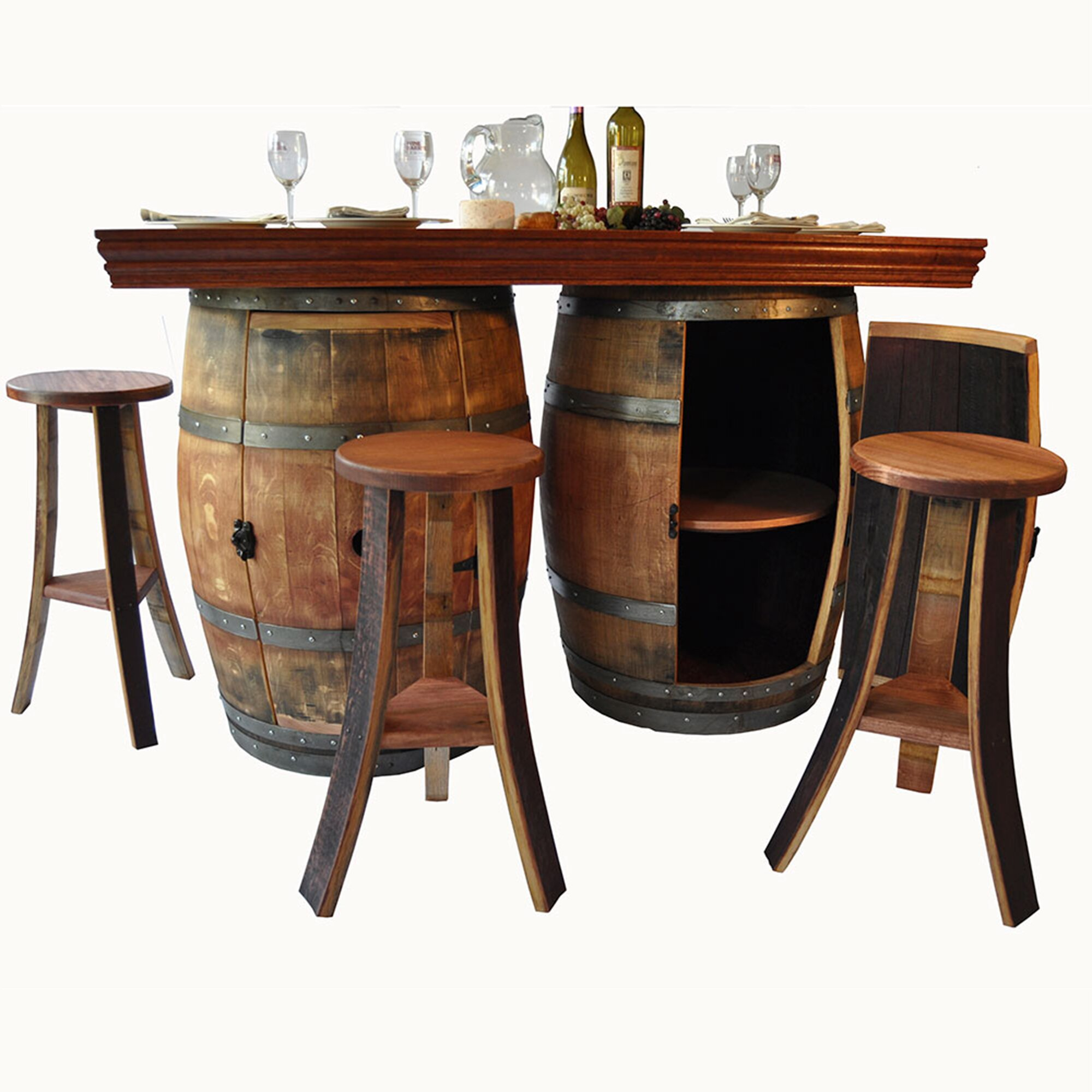 Napa east collection wine barrel 5 piece dining set for 1 2 wine barrel table