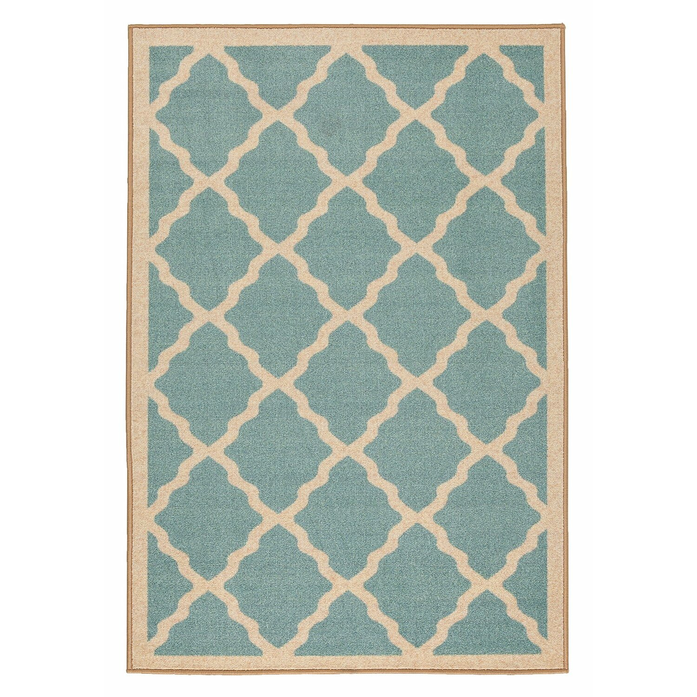 Prestige Moroccan Trellis Design Blue Area Rug