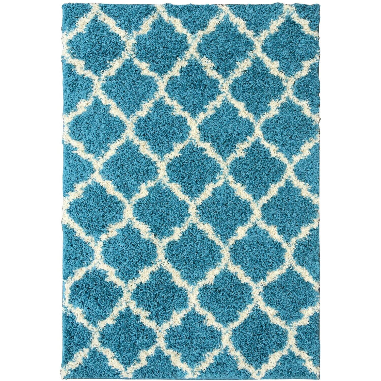 Ottomanson Ultimate Moroccan Trellis Soft Turquoise Shaggy