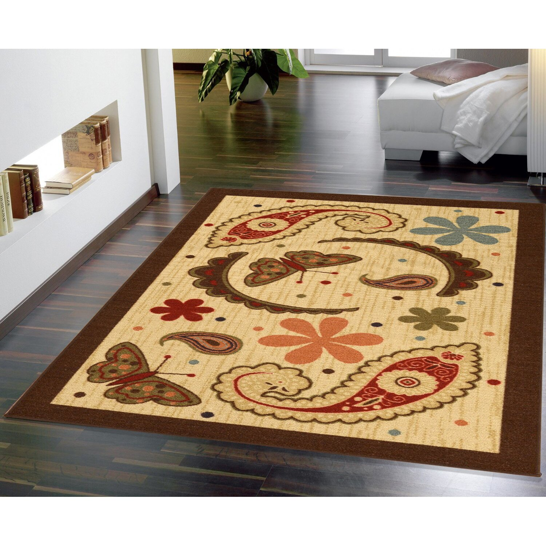 ottomanson sara 39 s kitchen paisley beige area rug reviews. Black Bedroom Furniture Sets. Home Design Ideas