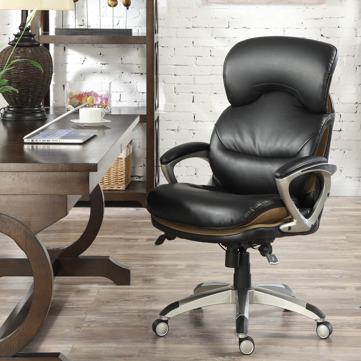 serta leather executive office chair light beige