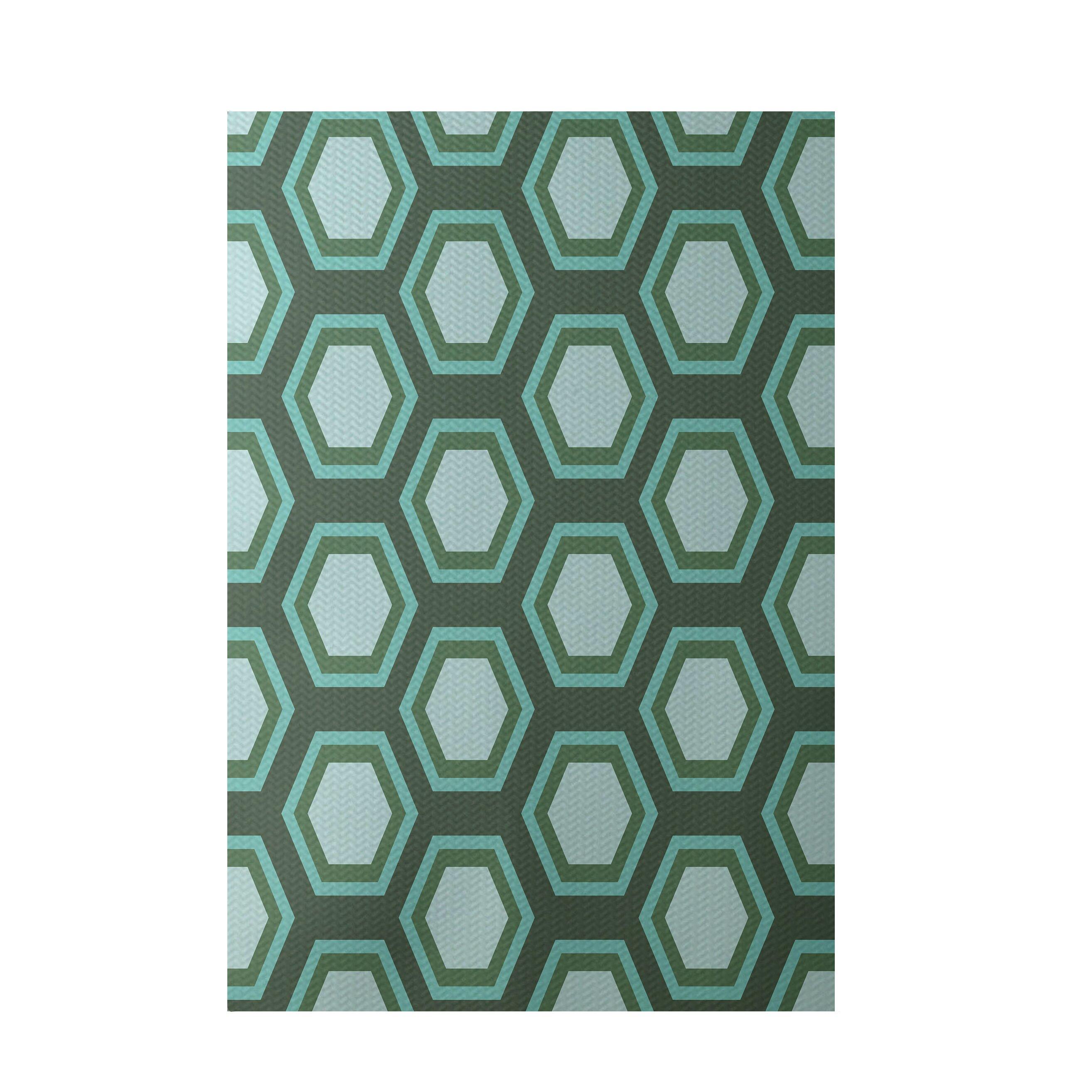 Geometric Green Indoor/Outdoor Area Rug