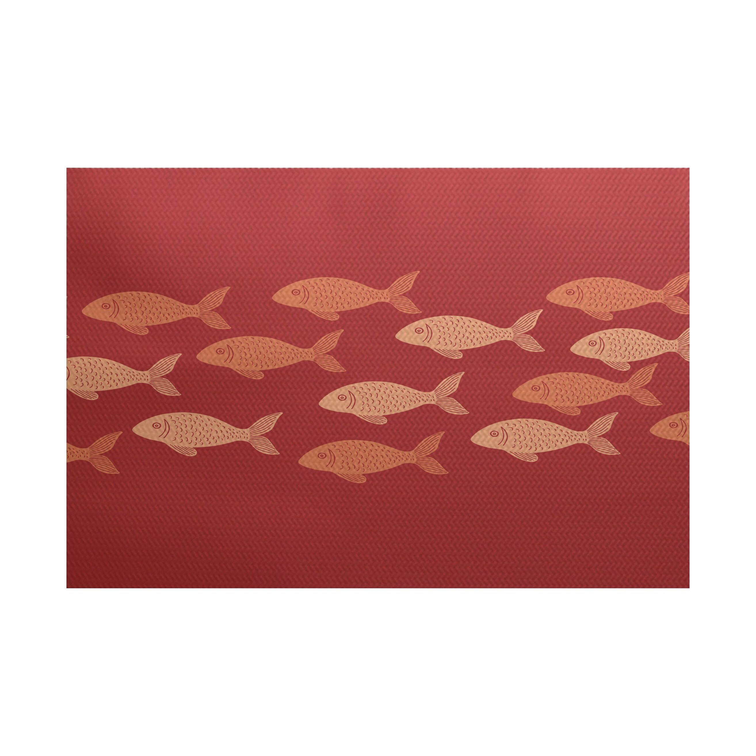 Beach Vacation Coral Indoor Outdoor Area Rug