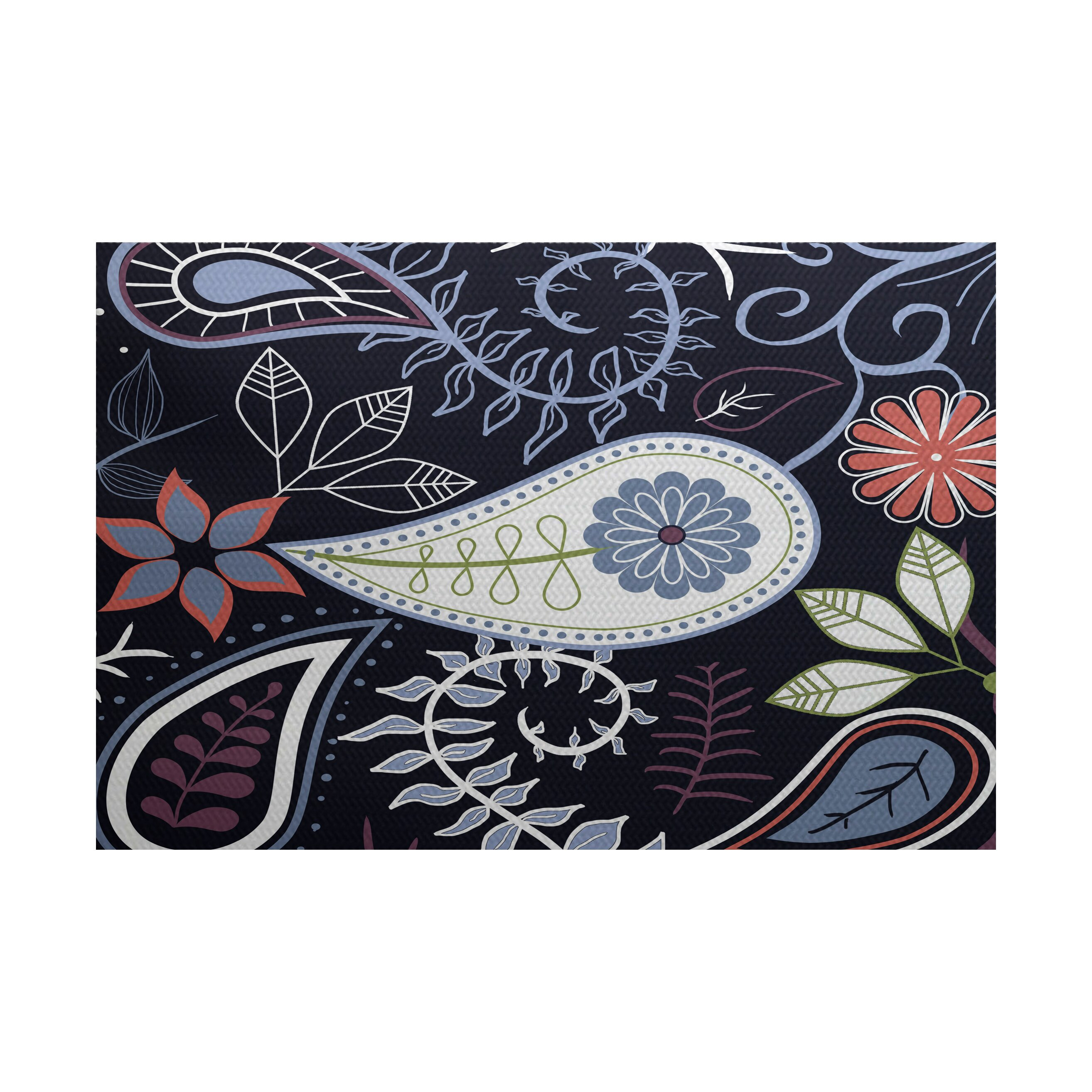 Botanical Blooms Navy Blue Indoor Outdoor Area Rug