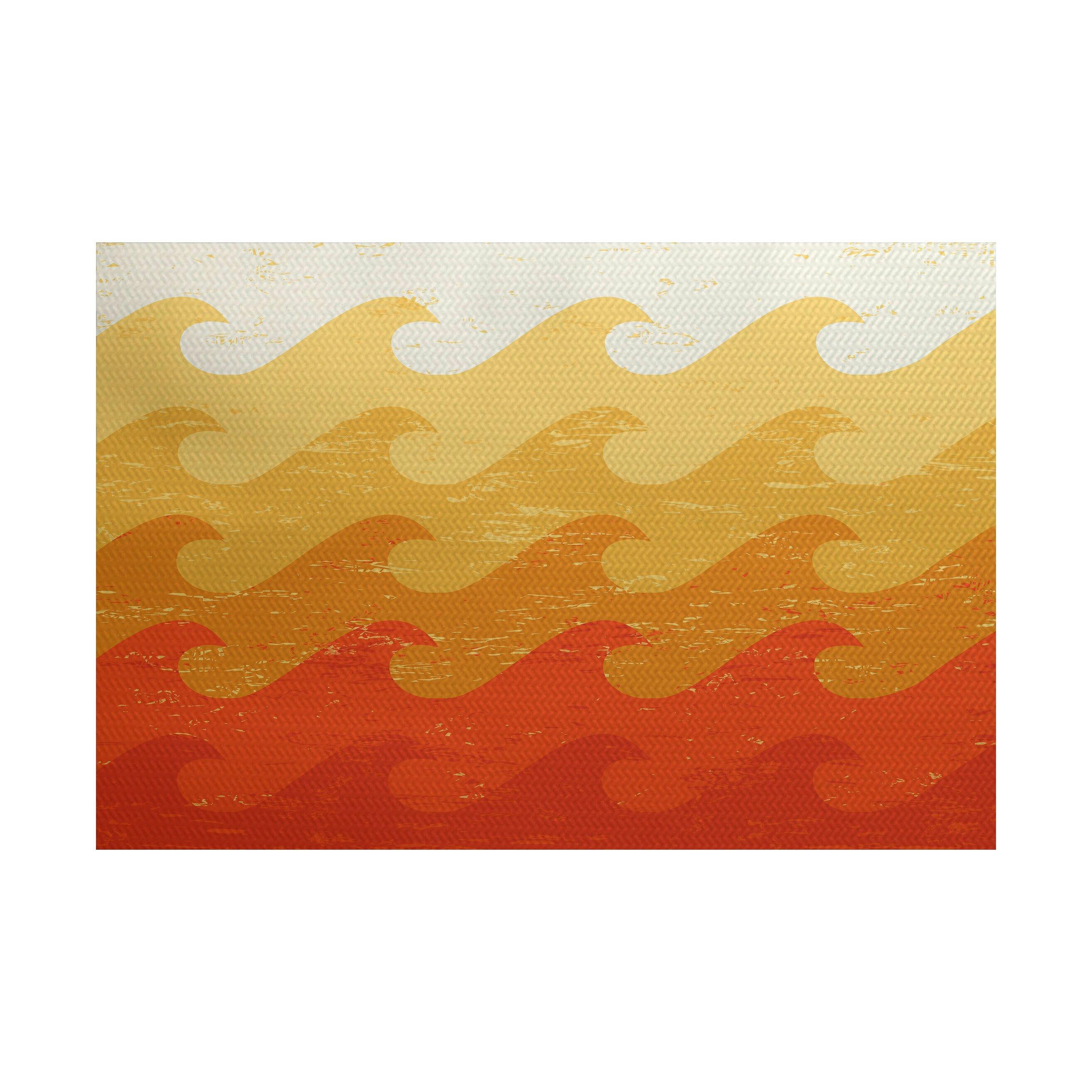 Surf Sand & SeaYellow Orange Indoor Outdoor Area Rug