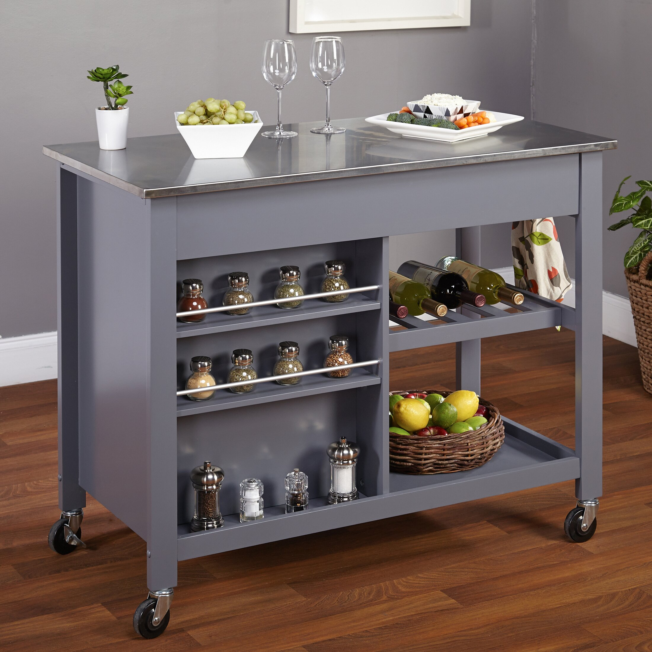 Tms Columbus Kitchen Island With Stainless Steel Top Reviews Wayfair