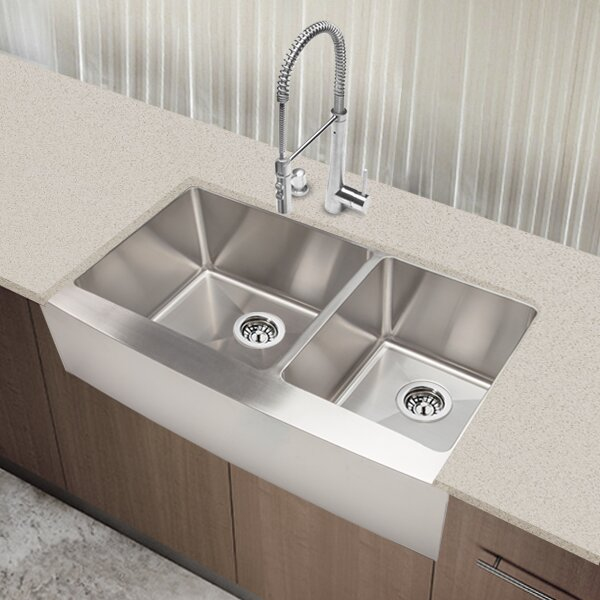 "Hahn Copper Farmhouse Extra Large Kitchen Sink: Hahn Chef Series 35.88"" X 20.75"" 60/40 Double Bowl Kitchen"