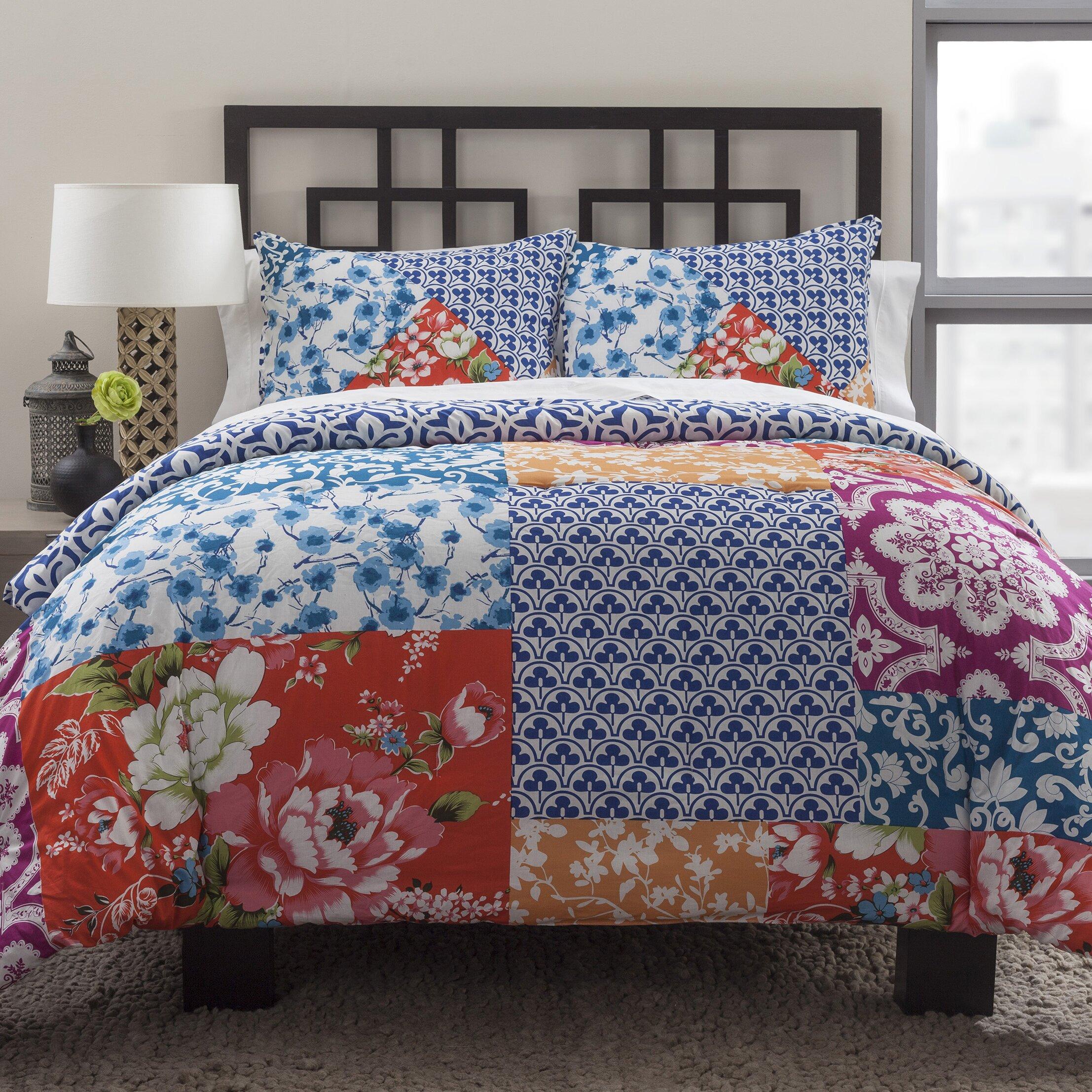 multi floral patchwork 2 piece california king comforter set wayfair. Black Bedroom Furniture Sets. Home Design Ideas