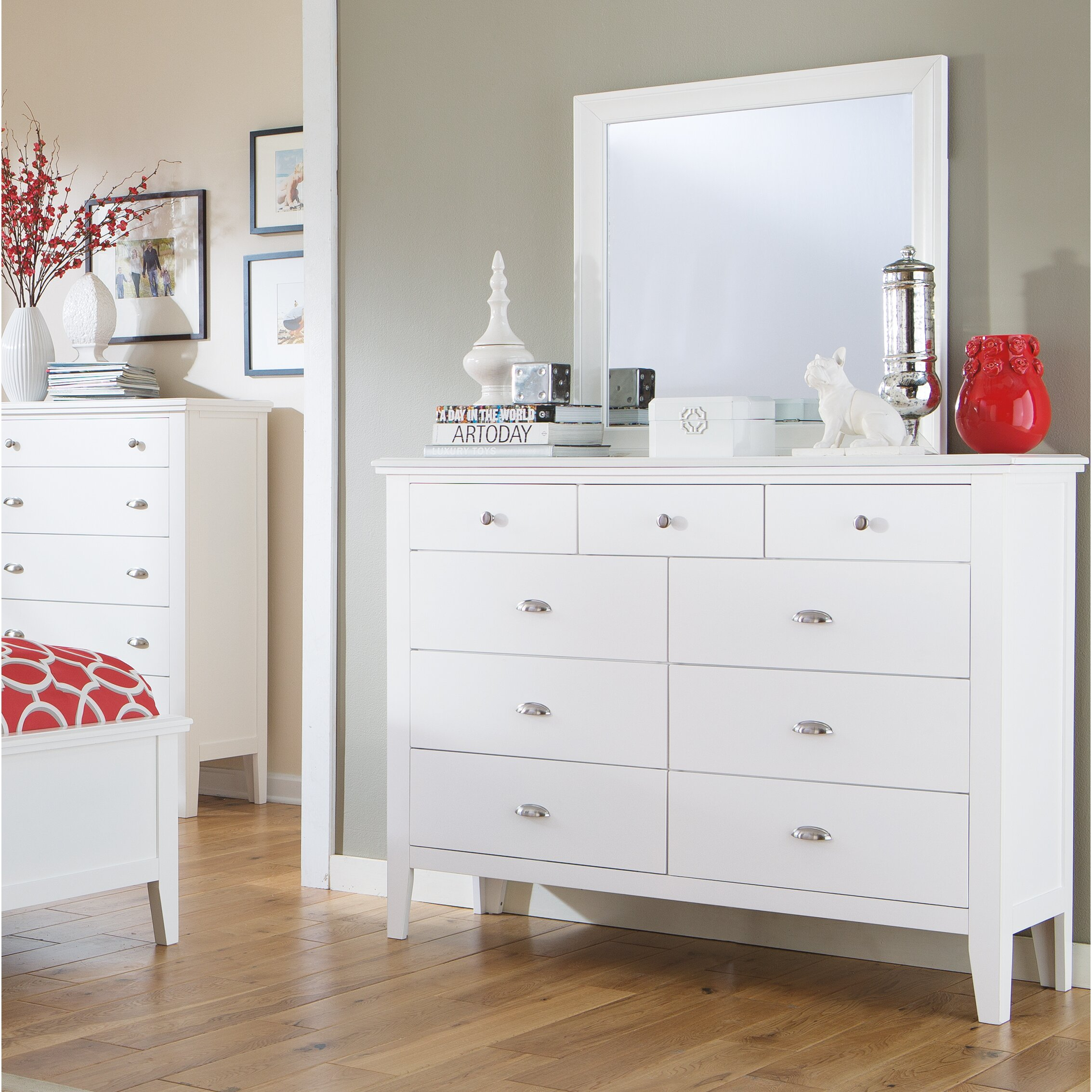 Signature Design By Ashley Langlor 9 Drawer Dresser With Mirror Reviews Wayfair