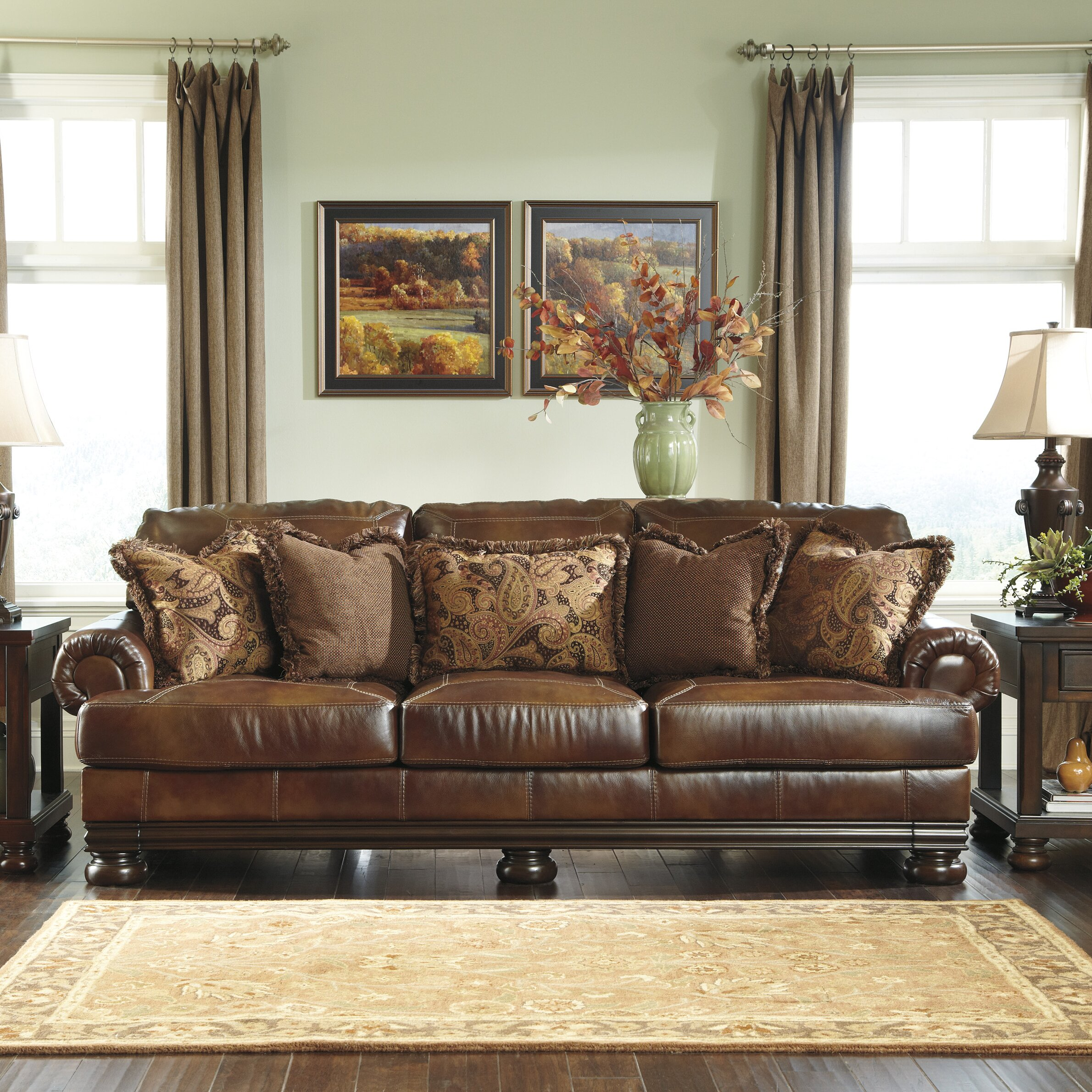 Ashleys Furnitures: Signature Design By Ashley Hutcherson Leather Sofa