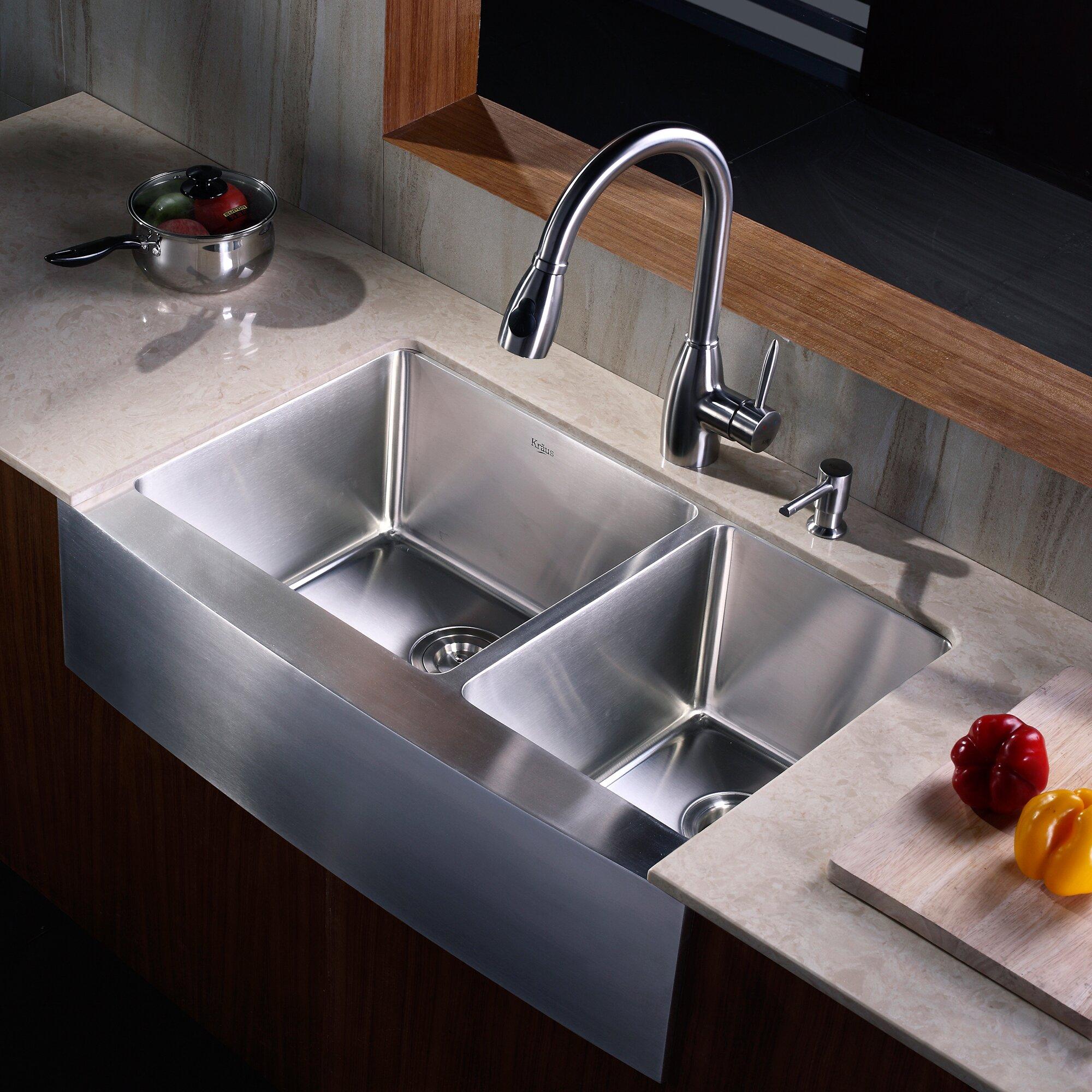 "Kitchen Sink Set: 32.9"" X 20.75"" X 10"" 8 Piece Farmhouse Double Bowl Kitchen"