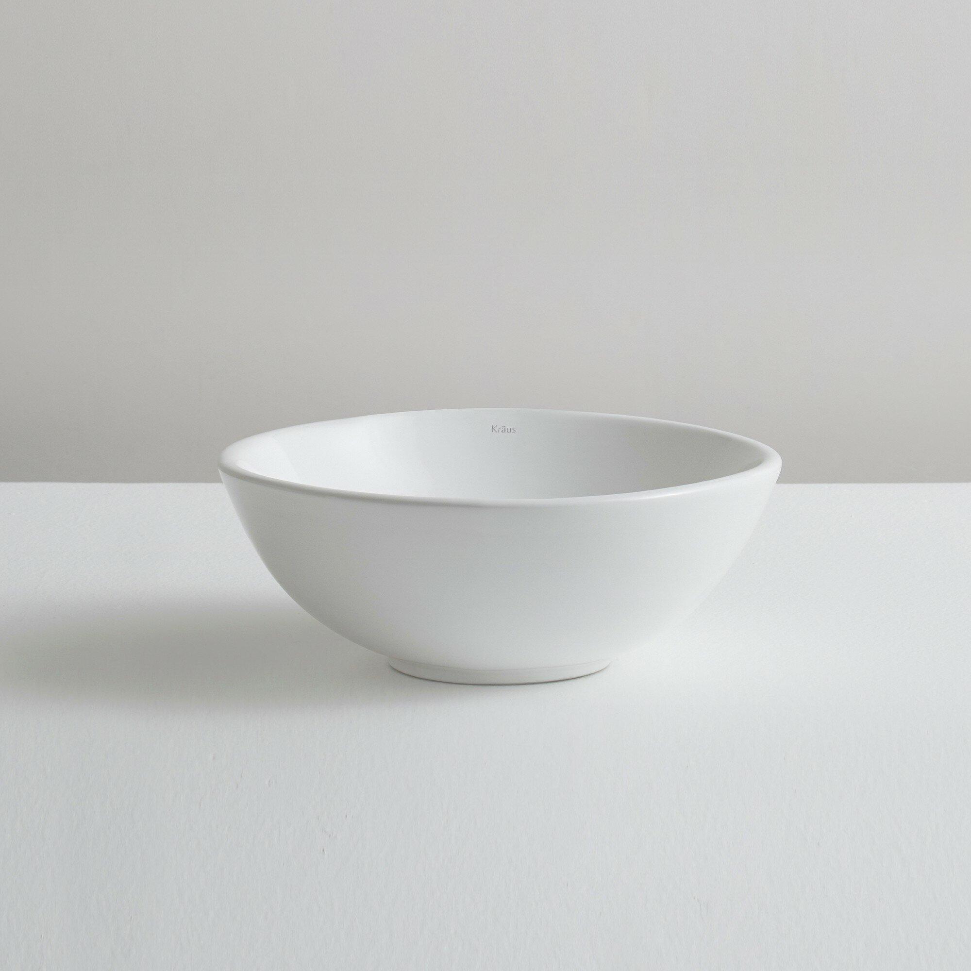 Kraus Elavo™ Ceramic Round Vessel Bathroom Sink & Reviews