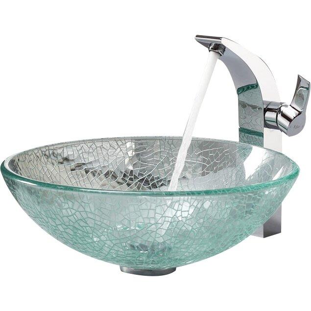 kraus bathroom combos broken glass vessel bathroom sink with single handle single hole faucet. Black Bedroom Furniture Sets. Home Design Ideas