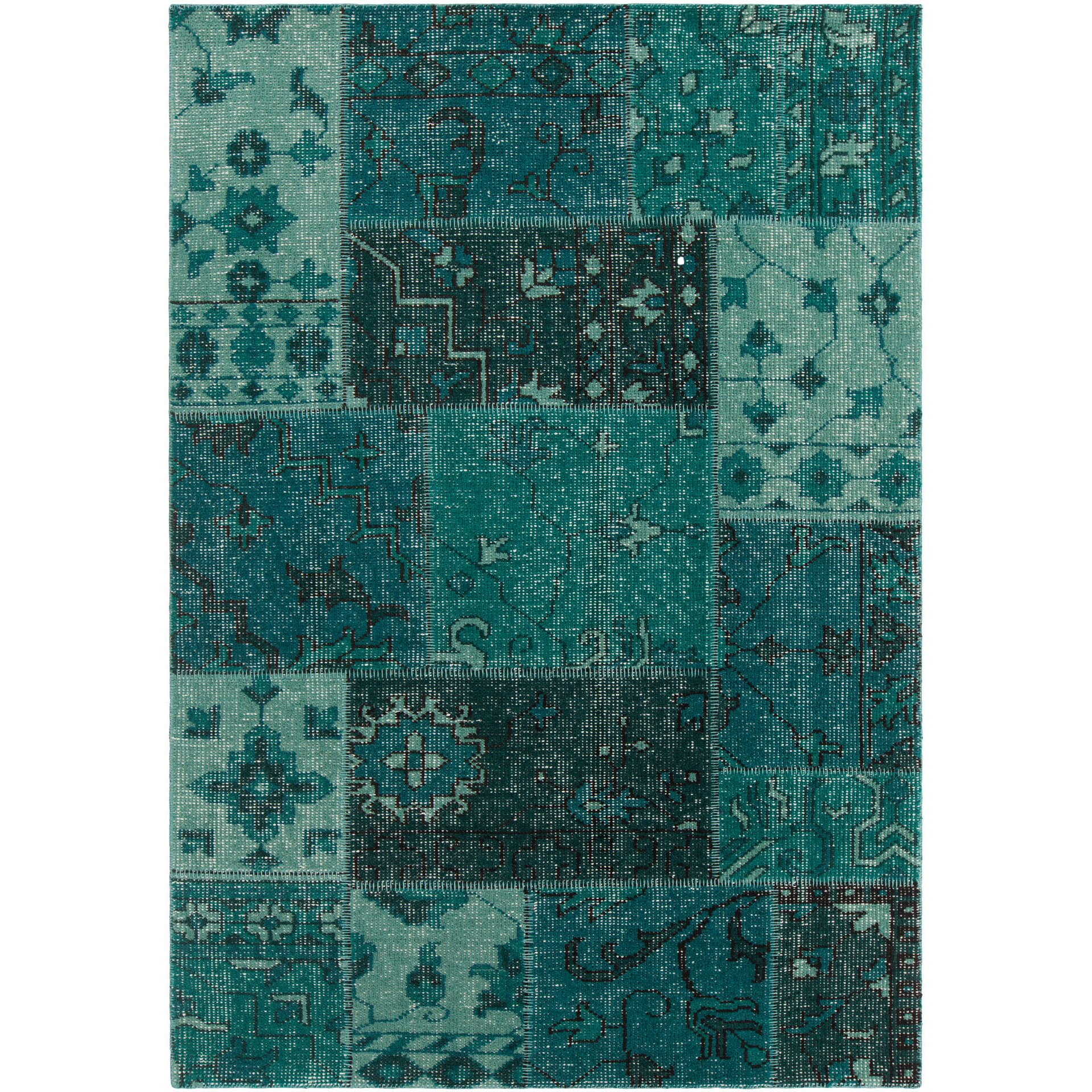 Fusion Patterned Knotted Contemporary Teal Area Rug