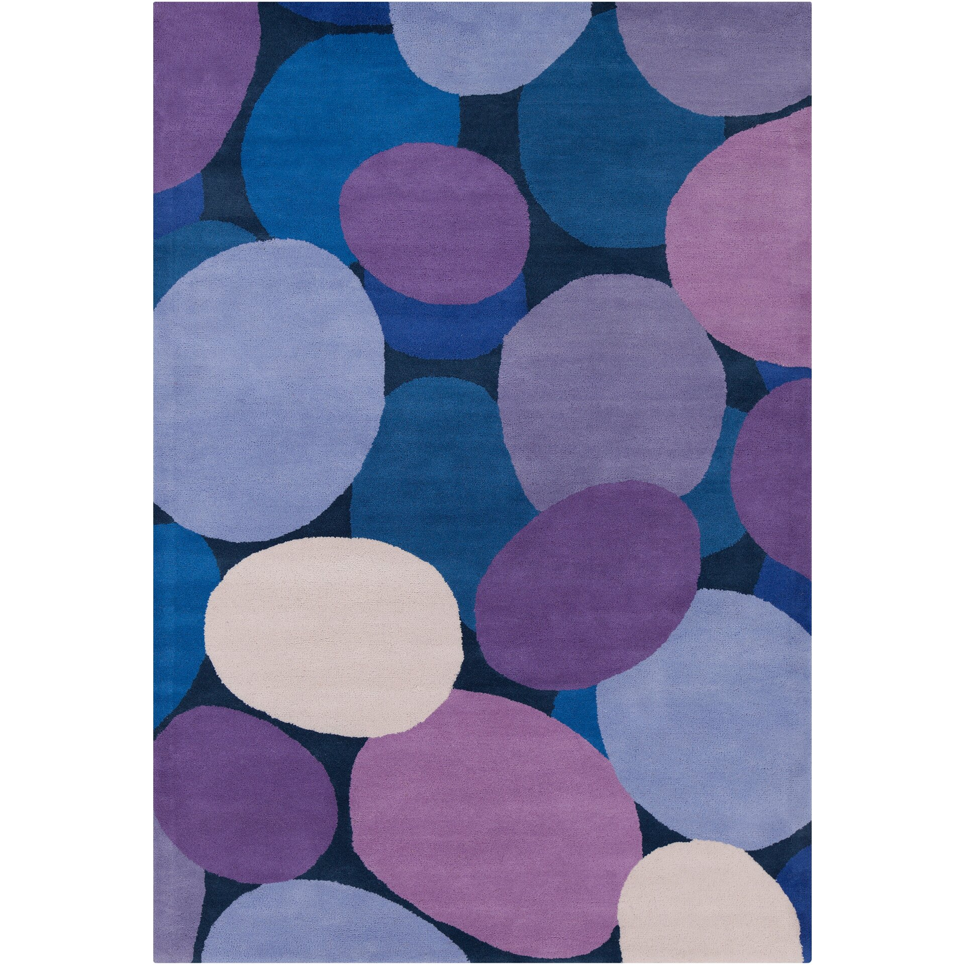 Chandra Stella Patterned Contemporary Wool Beige Aqua Area: Stella Patterned Contemporary Wool Purple/Blue Area Rug