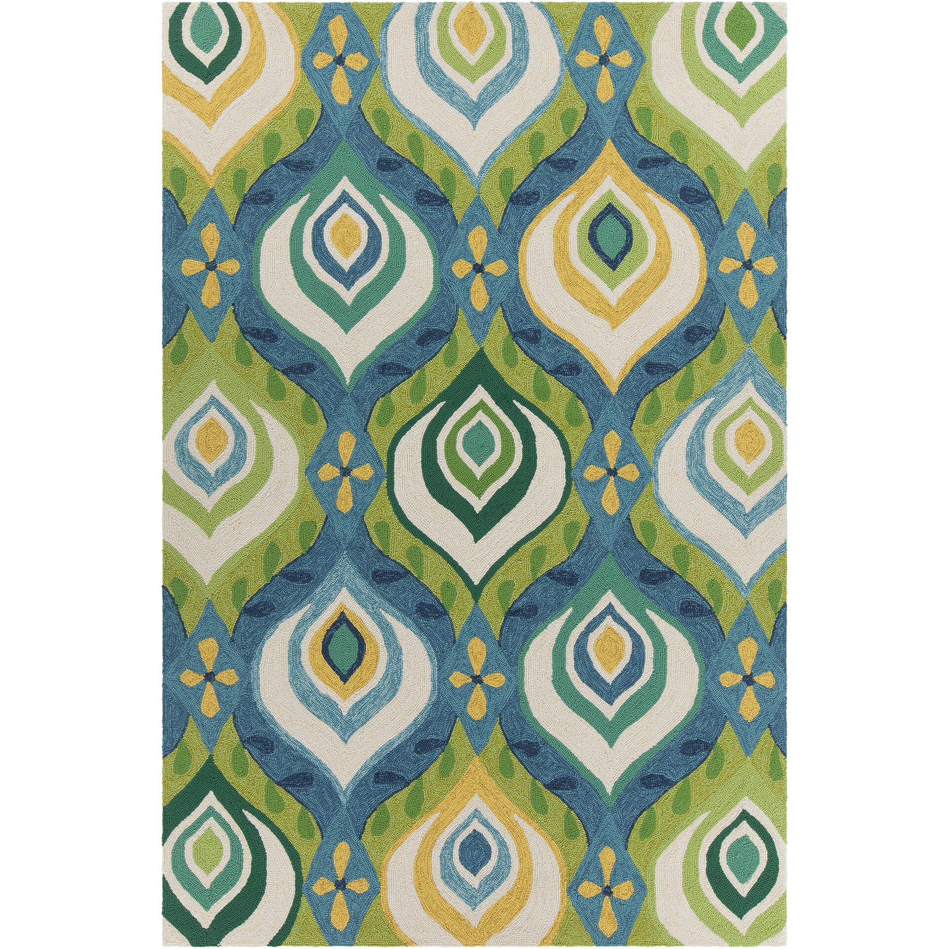 Terra Patterned Green & Blue Indoor/Outdoor Area Rug
