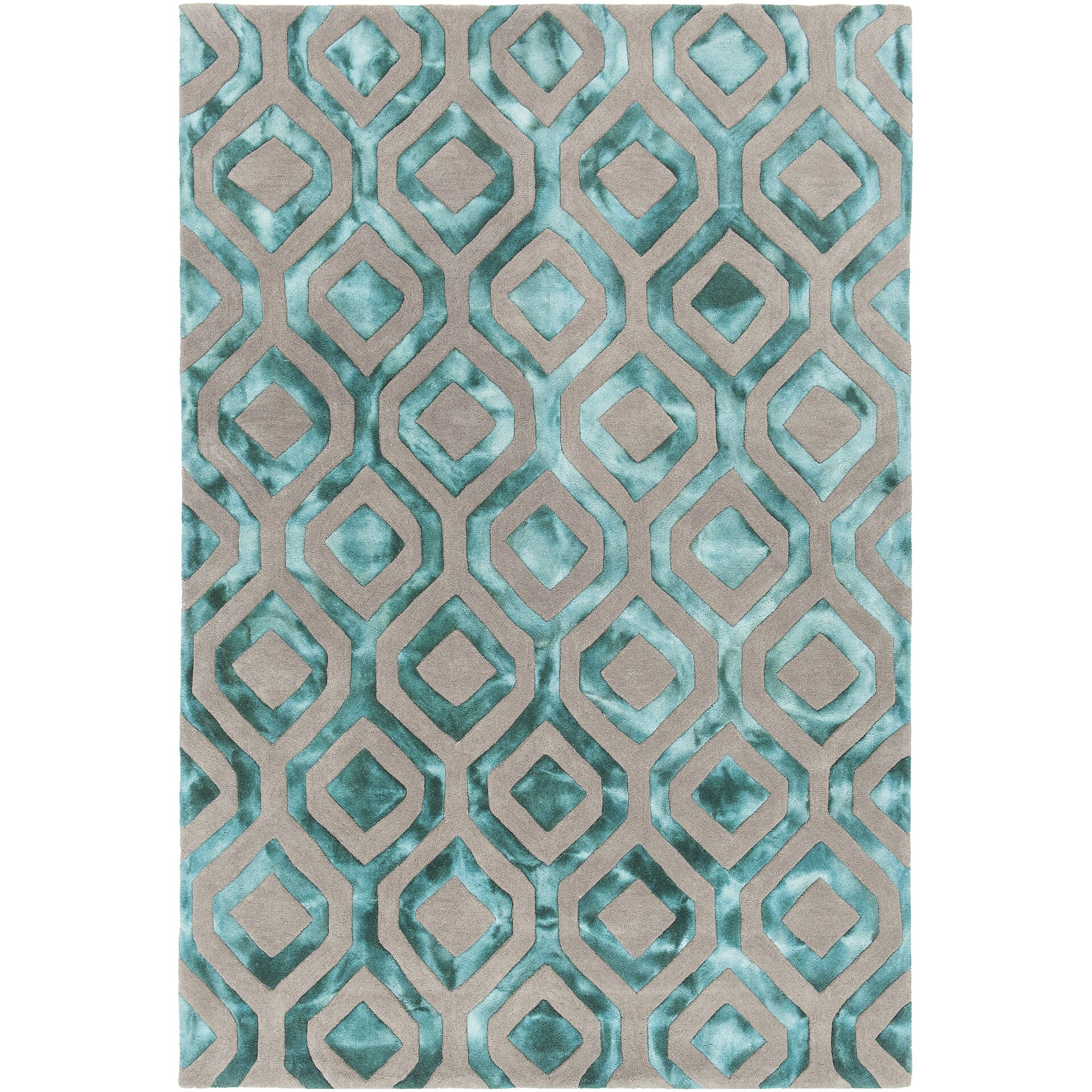 Chandra Fran Hand-Tufted Teal/Gray Area Rug & Reviews