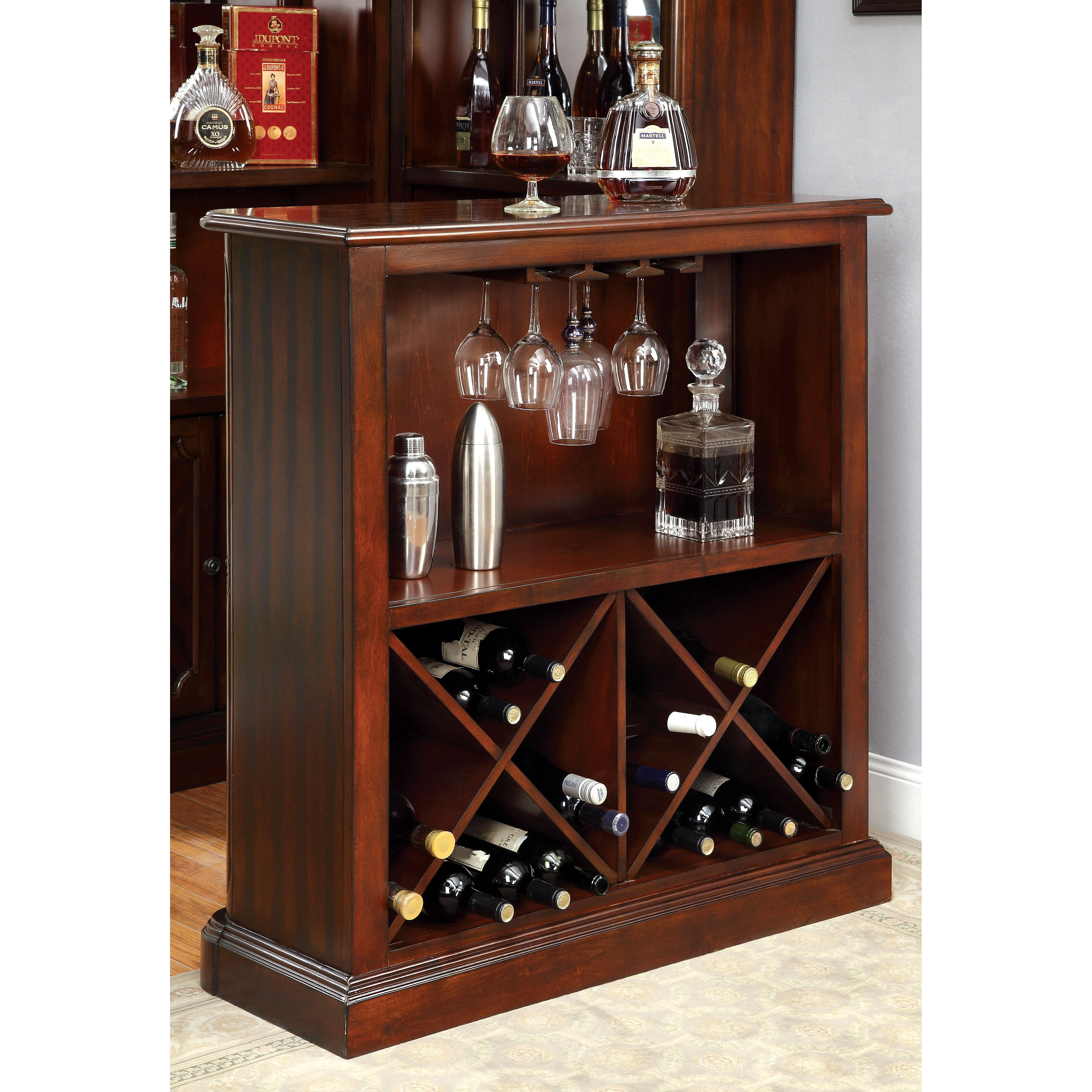 Hokku designs portafin bar with wine storage reviews for Furniture of america wolfgang home bar cabinet