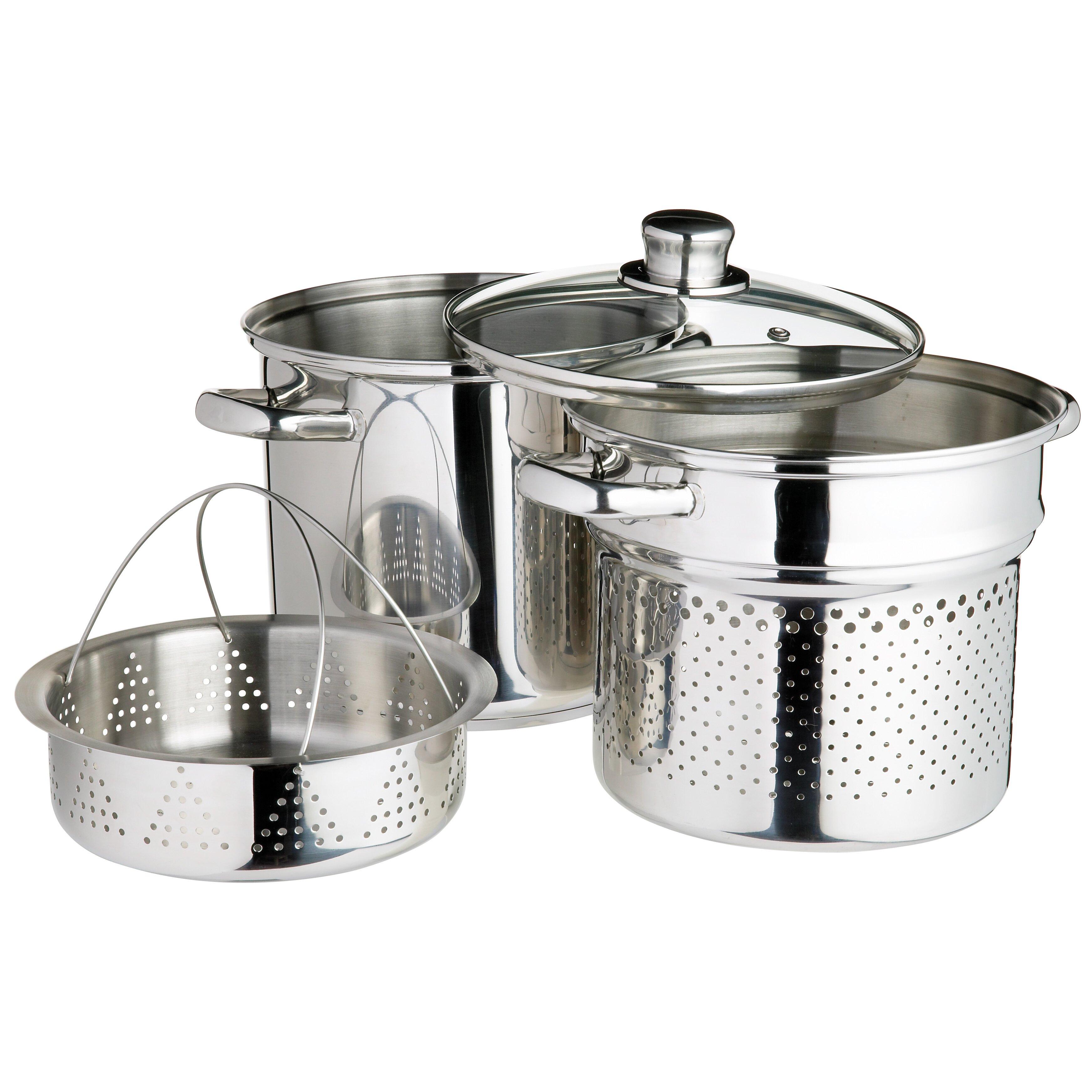 kitchen craft italian 3 piece stainless steel cookware set reviews wayfair uk. Black Bedroom Furniture Sets. Home Design Ideas