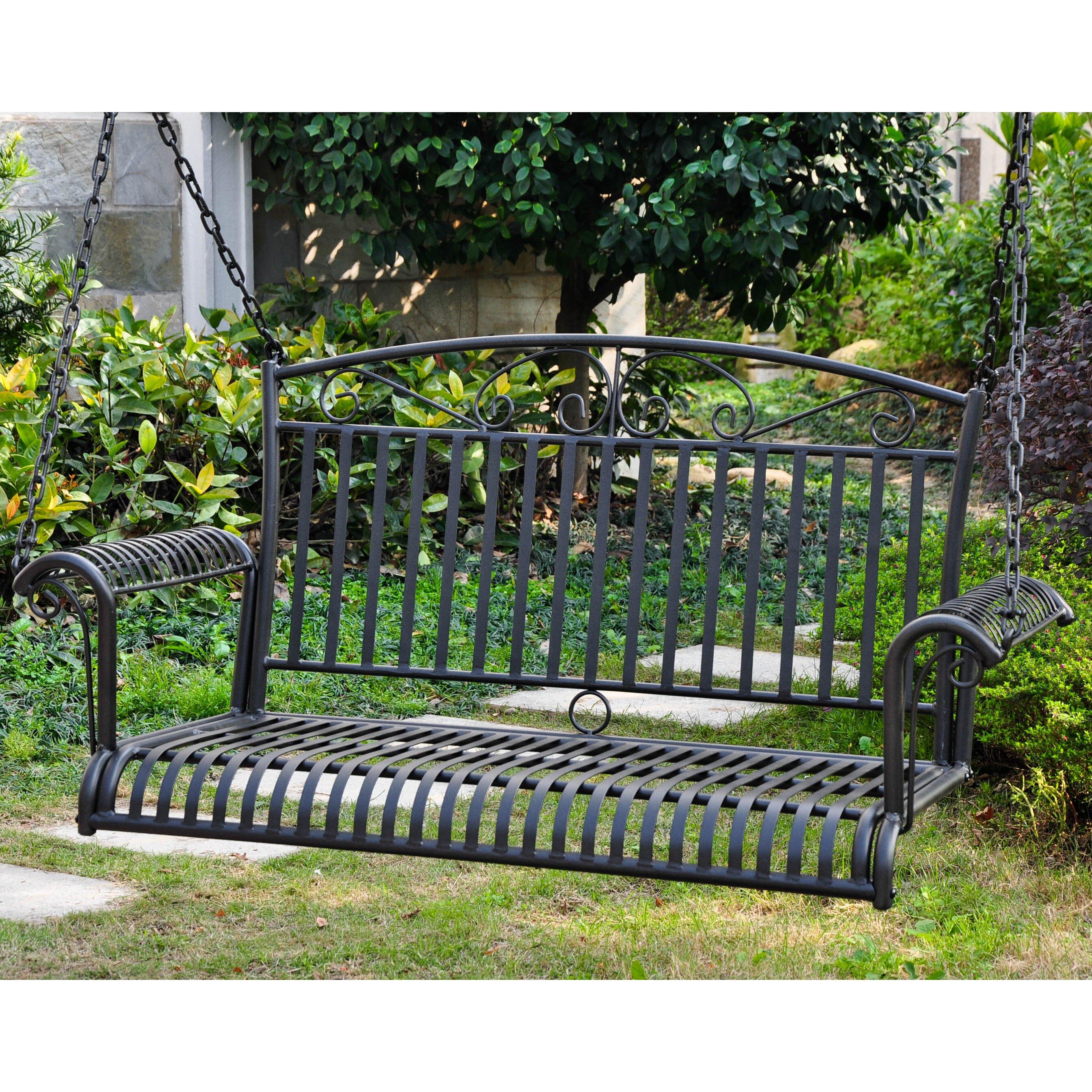 ... Caravan Tropico Wrought Iron Hanging Porch Swing & Reviews | Wayfair