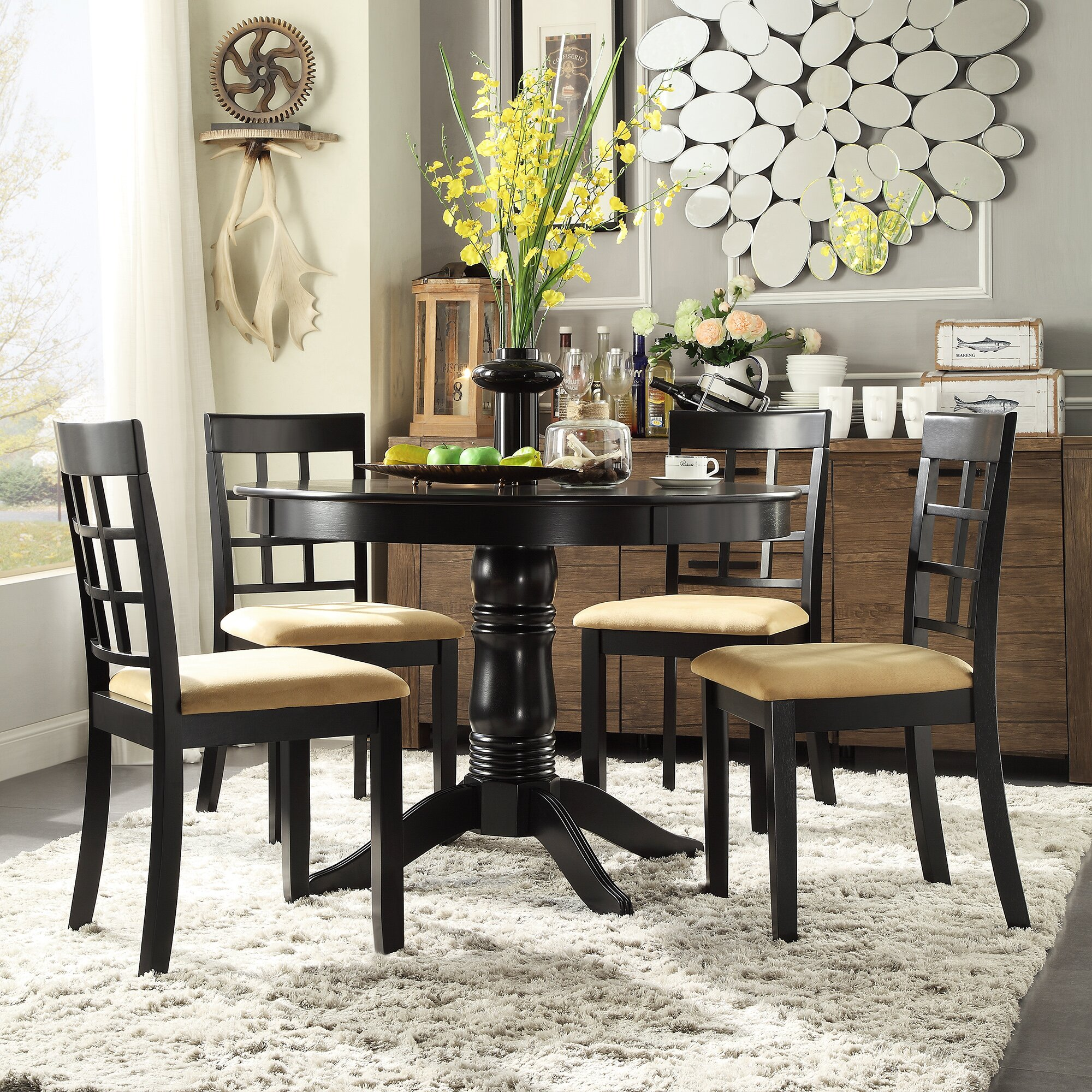 5 Piece Round Dining Set: Kingstown Home Jeannette 5 Piece Round Dining Set