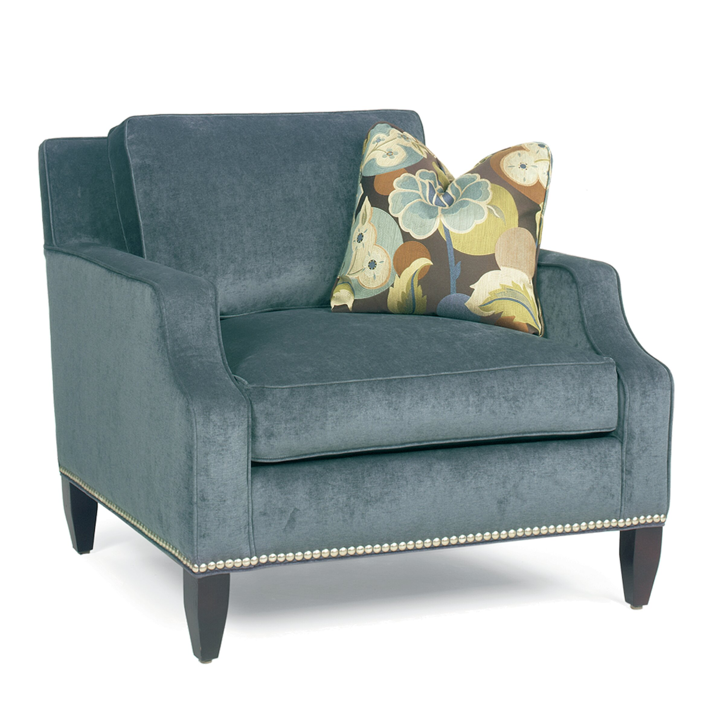 Modern Notch Arm Loose Pillow Back Club Arm Chair | Wayfair