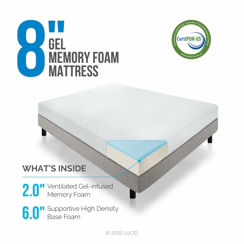 "Lucid 8"" Memory Foam Mattress & Reviews"