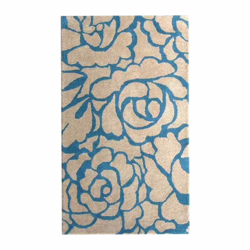 Peony Teal/Beige Floral Area Rug
