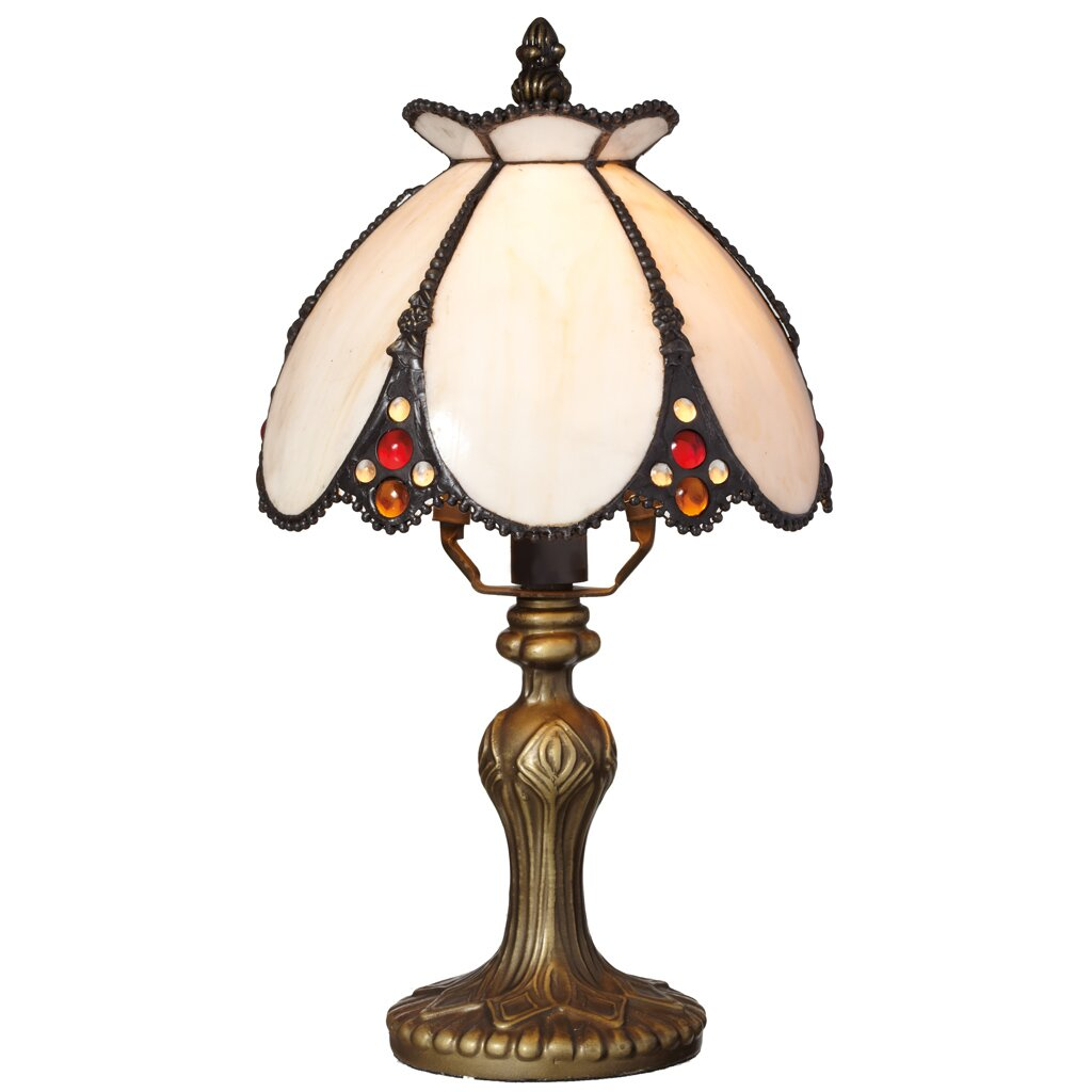 abbey 12 h stained glass table lamp with bowl shade by river of goods. Black Bedroom Furniture Sets. Home Design Ideas