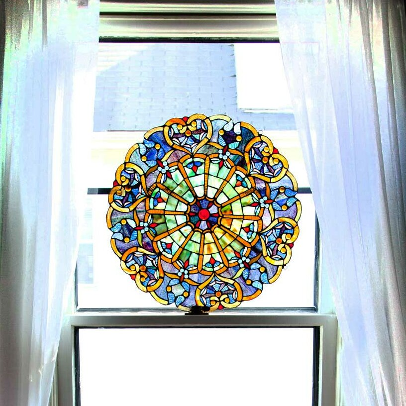 heart tiffany style stained glass window panel reviews wayfair
