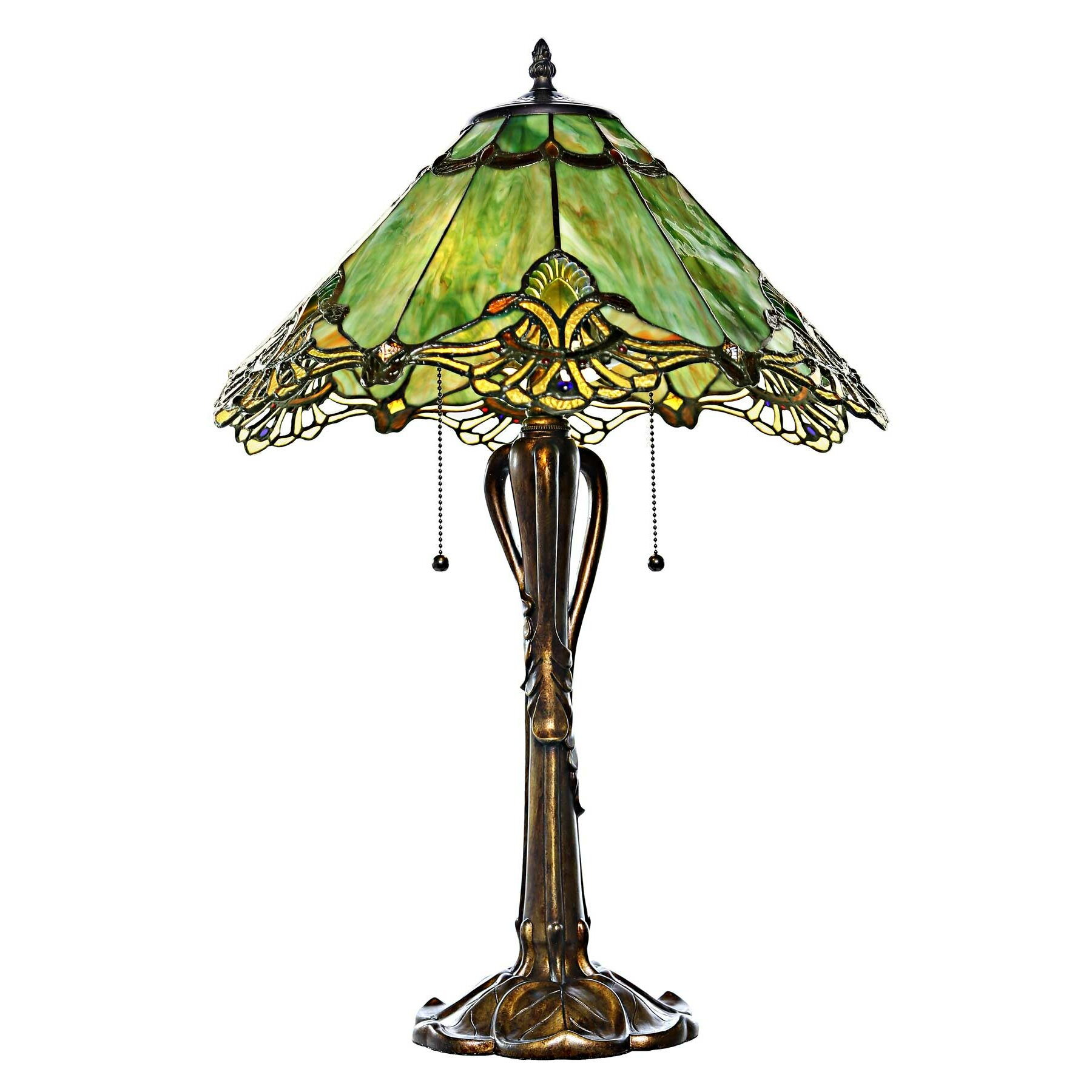 sea green crystal lace tiffany style stained glass 24 5 h table lamp. Black Bedroom Furniture Sets. Home Design Ideas