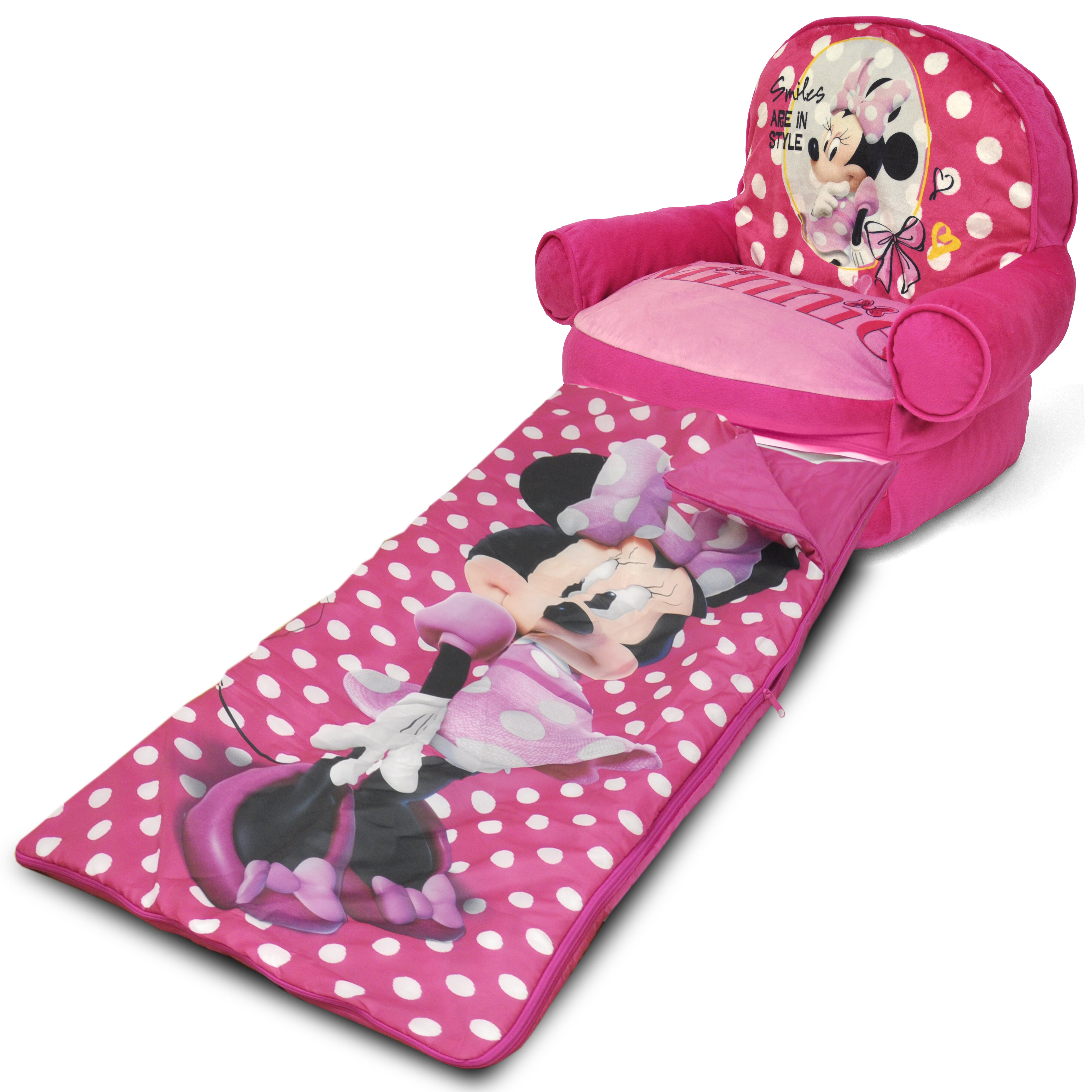 Minnie Mouse Kids Bean Bag Arm Chair With Bonus Sleeping
