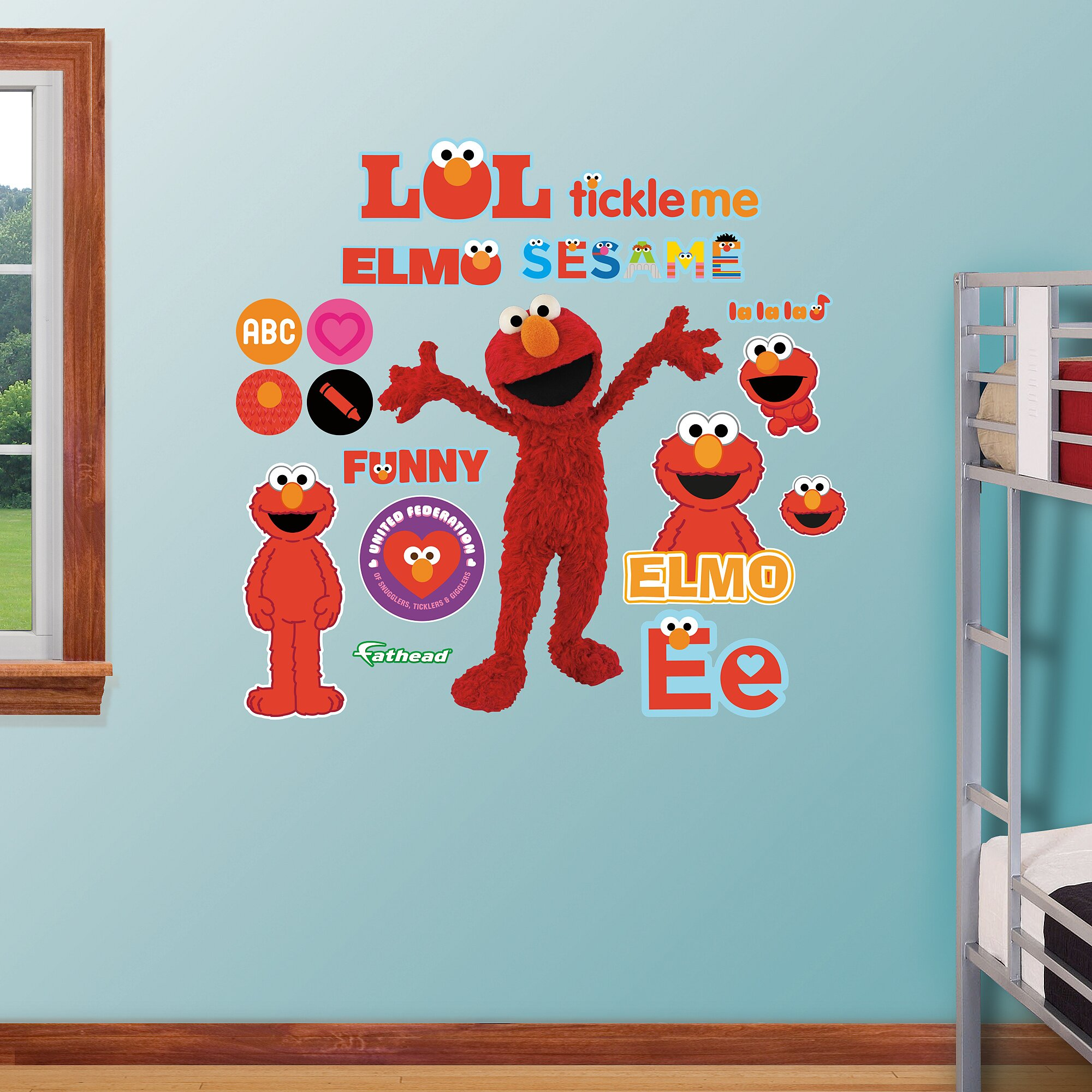 Elmo wall decals roommates elmo peel stick wall for Elmo wall mural