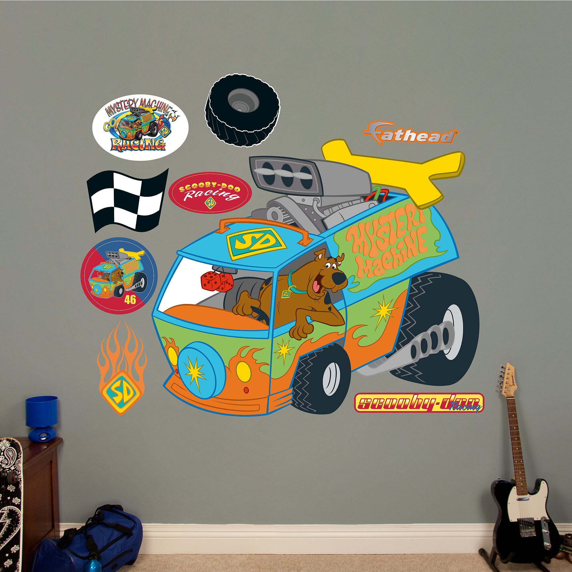 Scooby Doo Wall Stickers Warner Bros Scooby Doo Hot Rod Machine Peel And Stick Wall