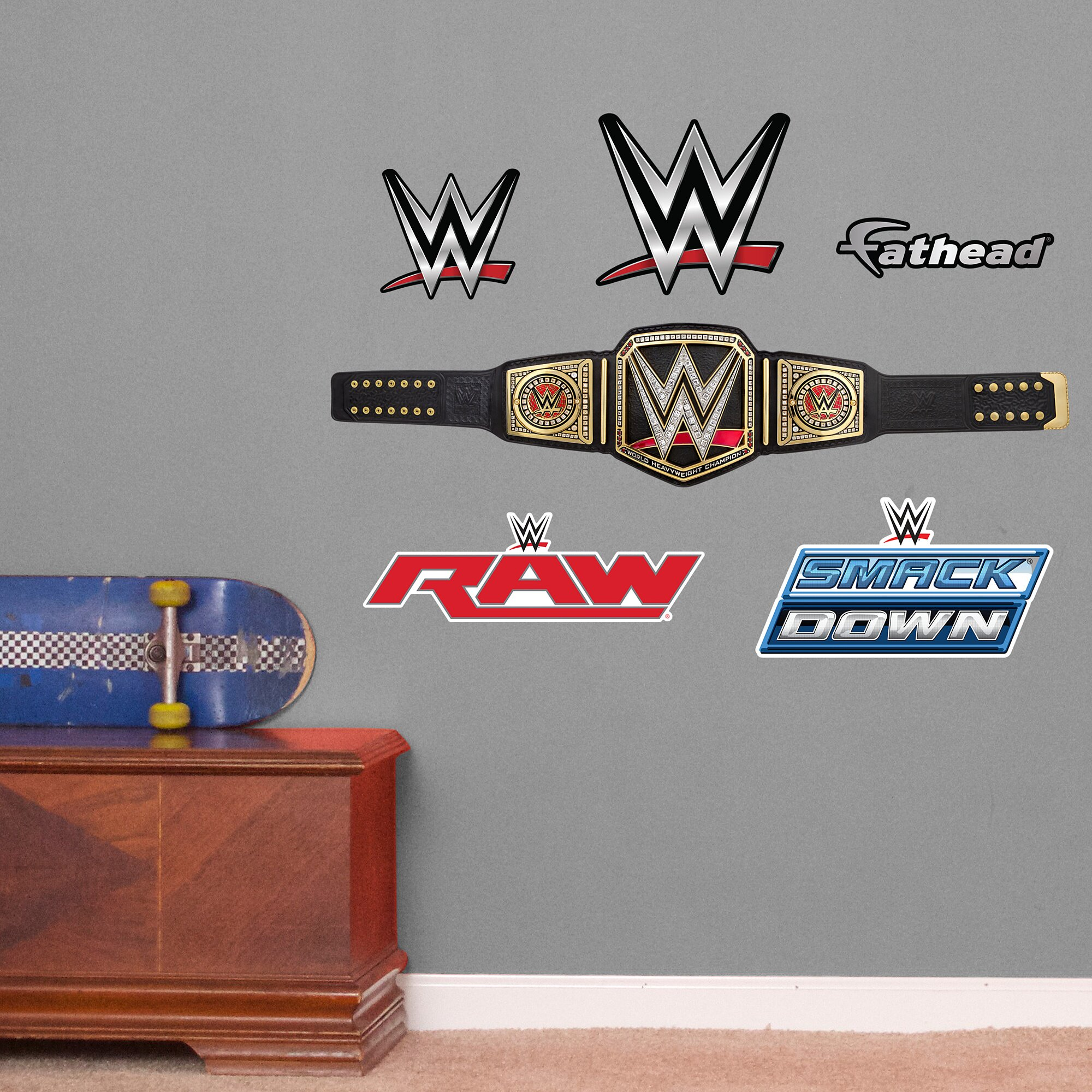 fathead wwe title belt peel and stick wall decal amp reviews design wwe iron on transfers and wwe wall stickers online
