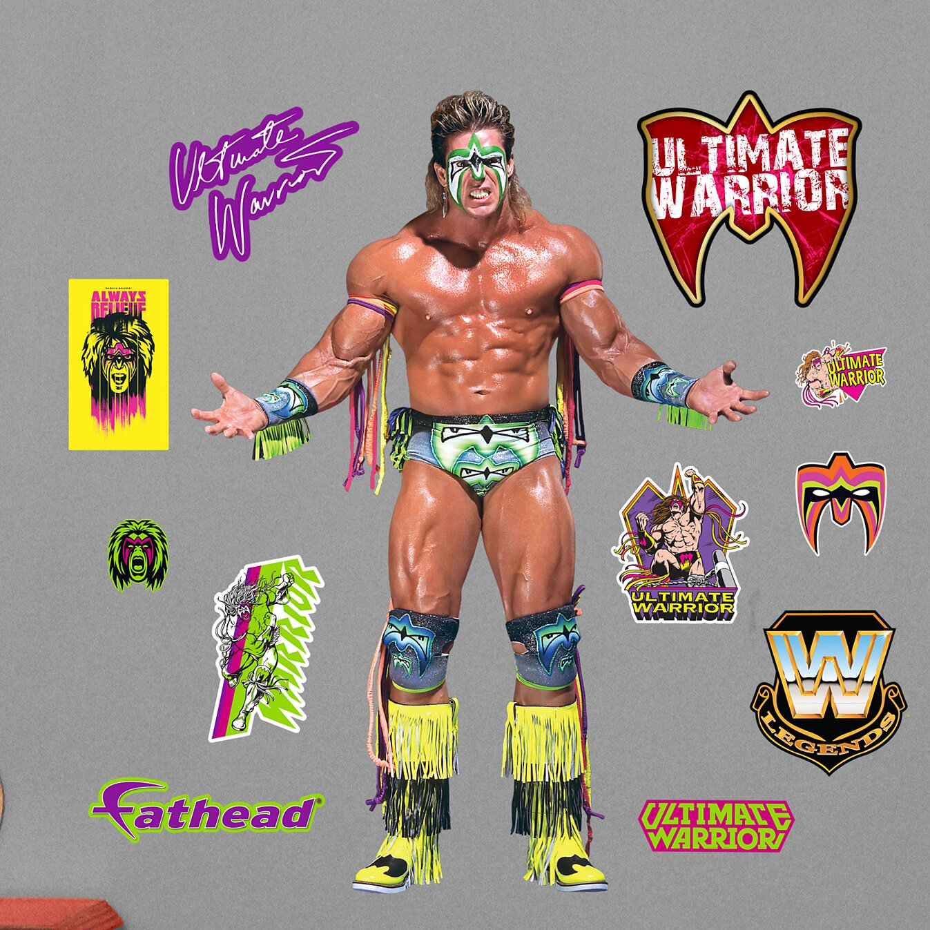 fathead wwe ultimate warrior peel and stick wall decal wwe bret the hitman hart peel and stick wall decal wayfair