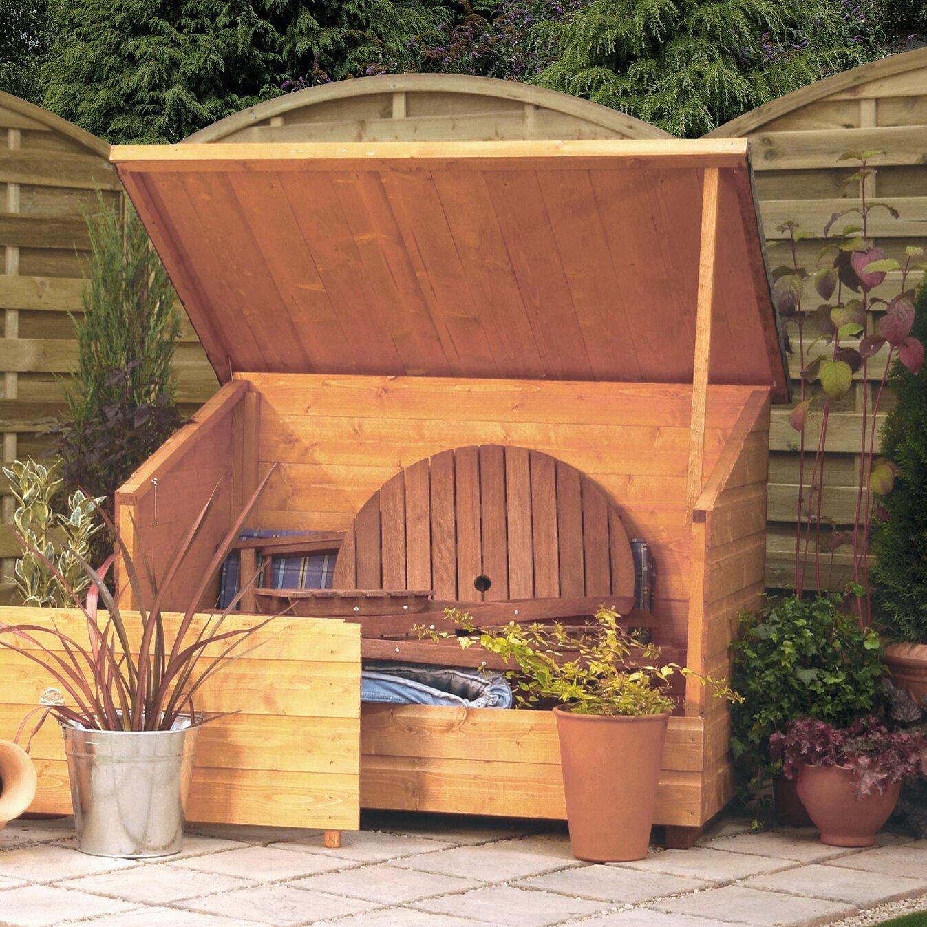 rowlinson wooden deck box reviews wayfair