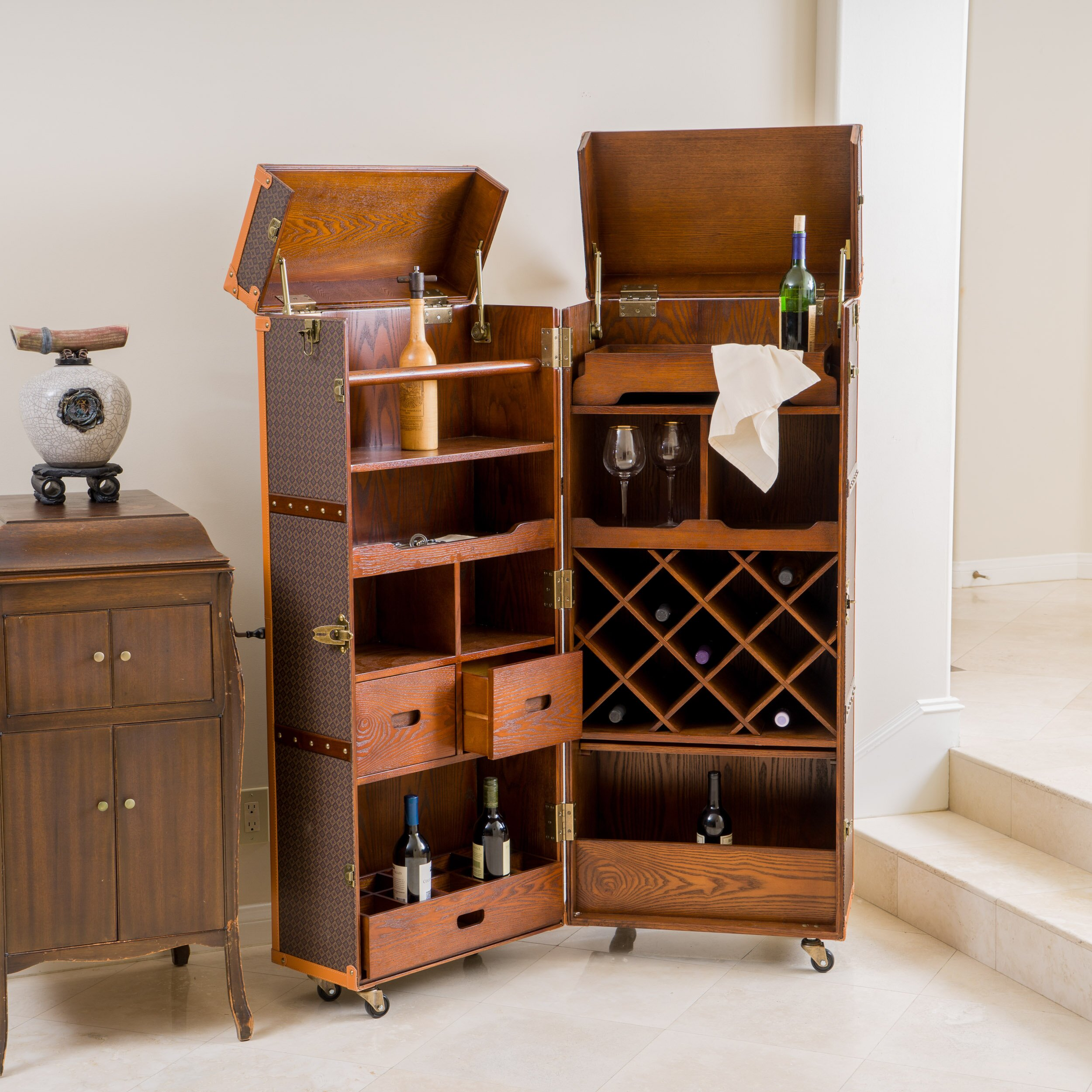 Home Loft Concepts Brisco Rolling Bar Cabinet with Wine ...