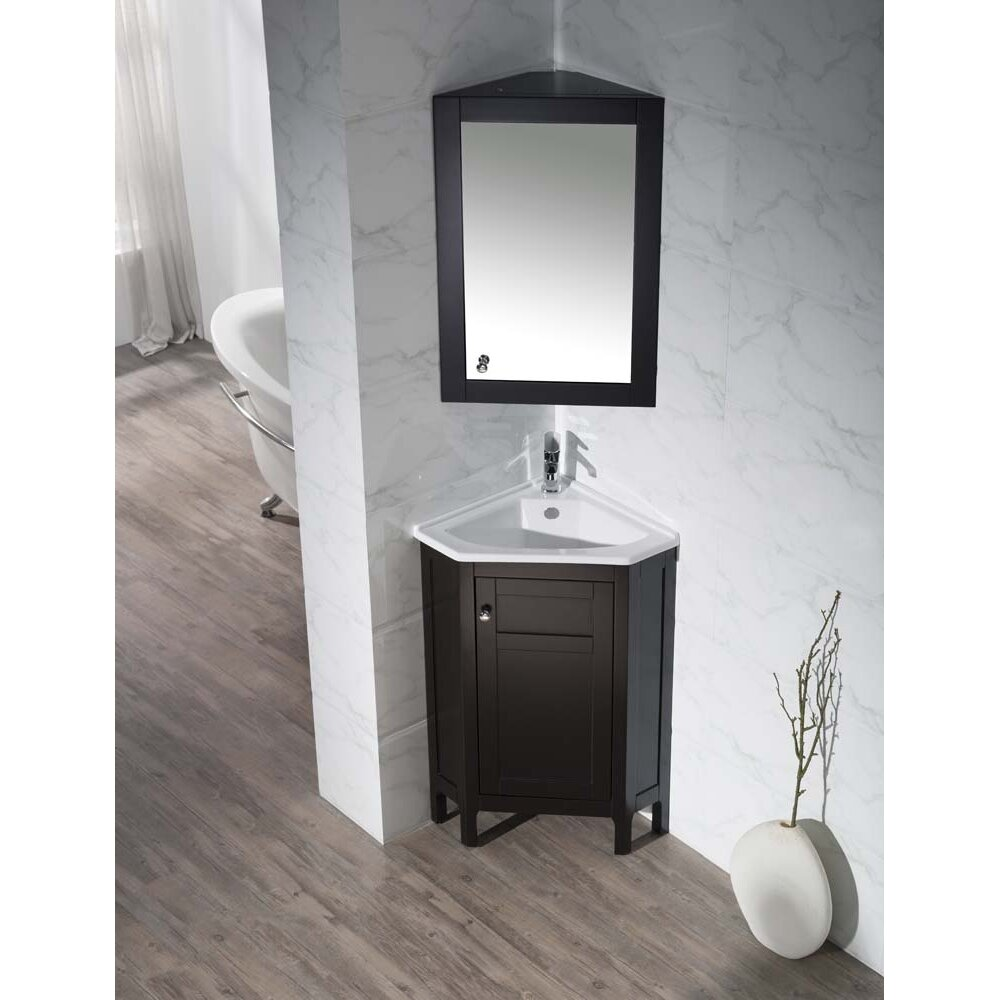 "Home Loft Concepts 24.25"" Single Corner Bathroom Vanity"