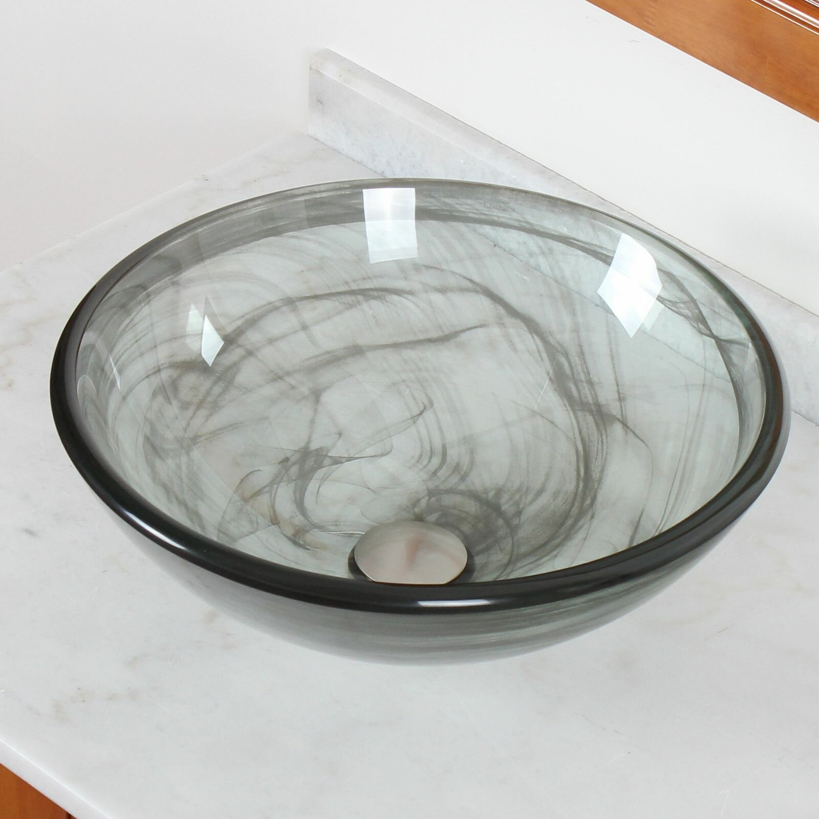 Glass Vessel Bowls : Elite Double Layered Tempered Glass Bowl Vessel Bathroom Sink ...