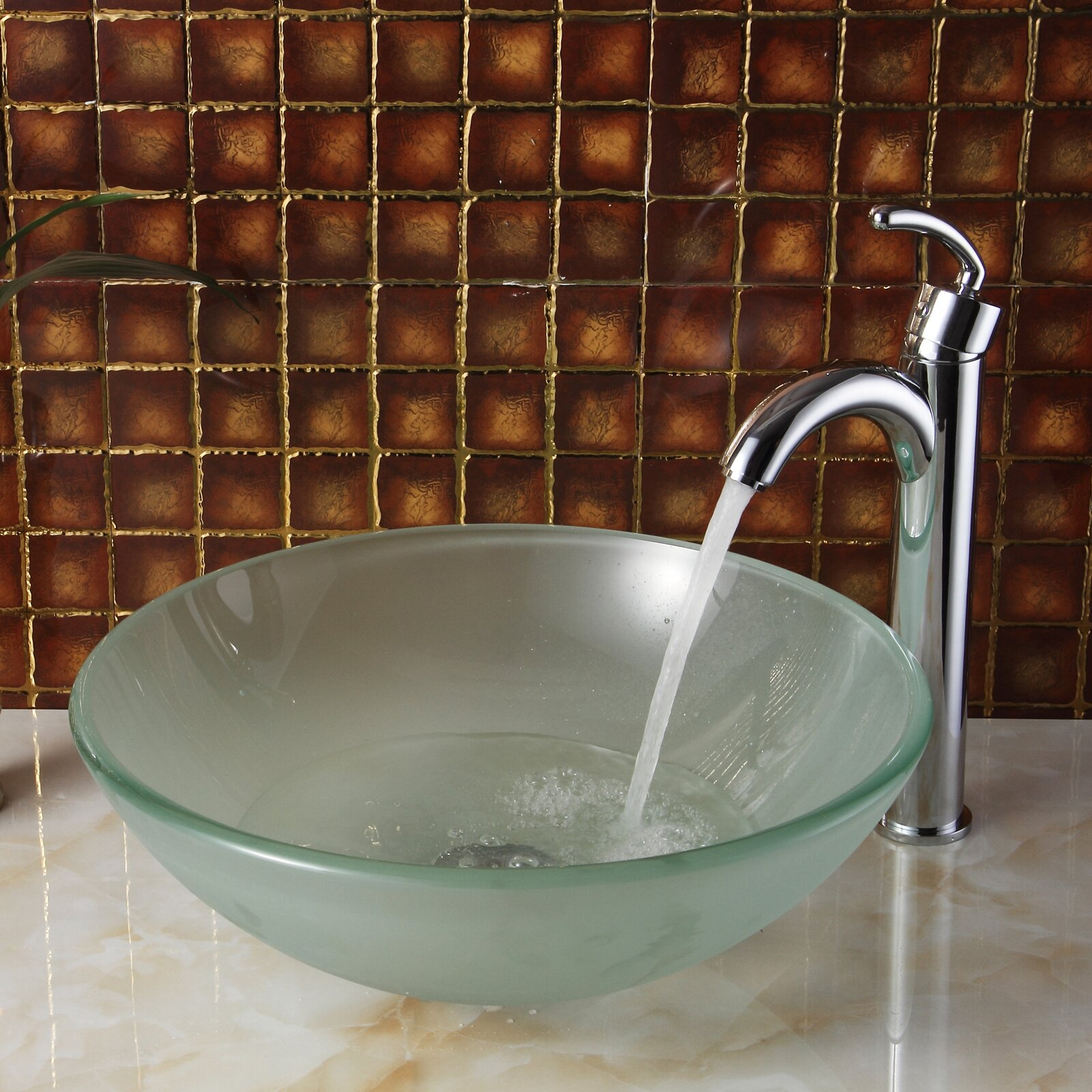Double layered tempered glass round bowl vessel bathroom - Bathroom tempered glass vessel sink ...