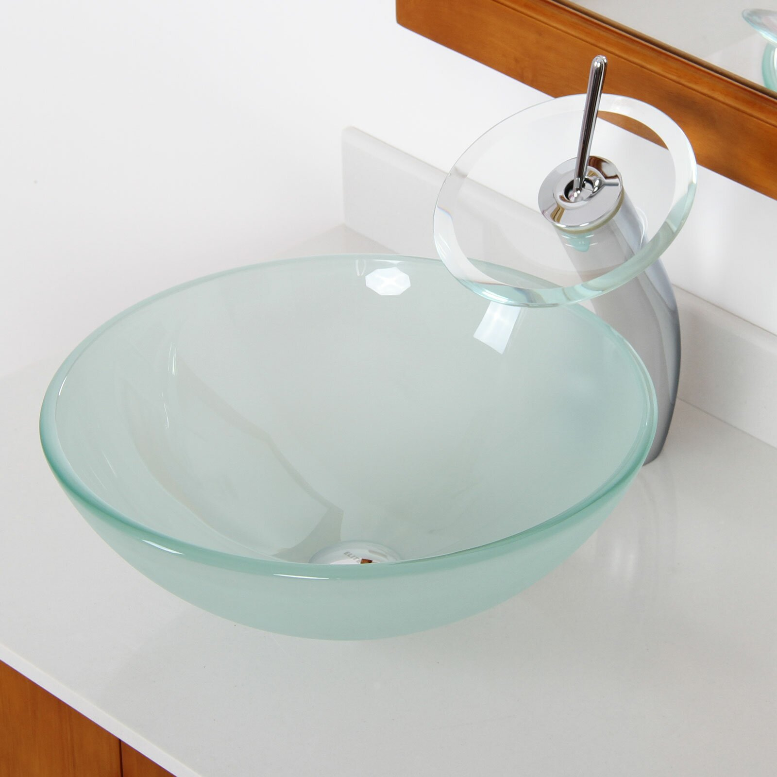 Double Layered Tempered Glass Round Bowl Vessel Bathroom