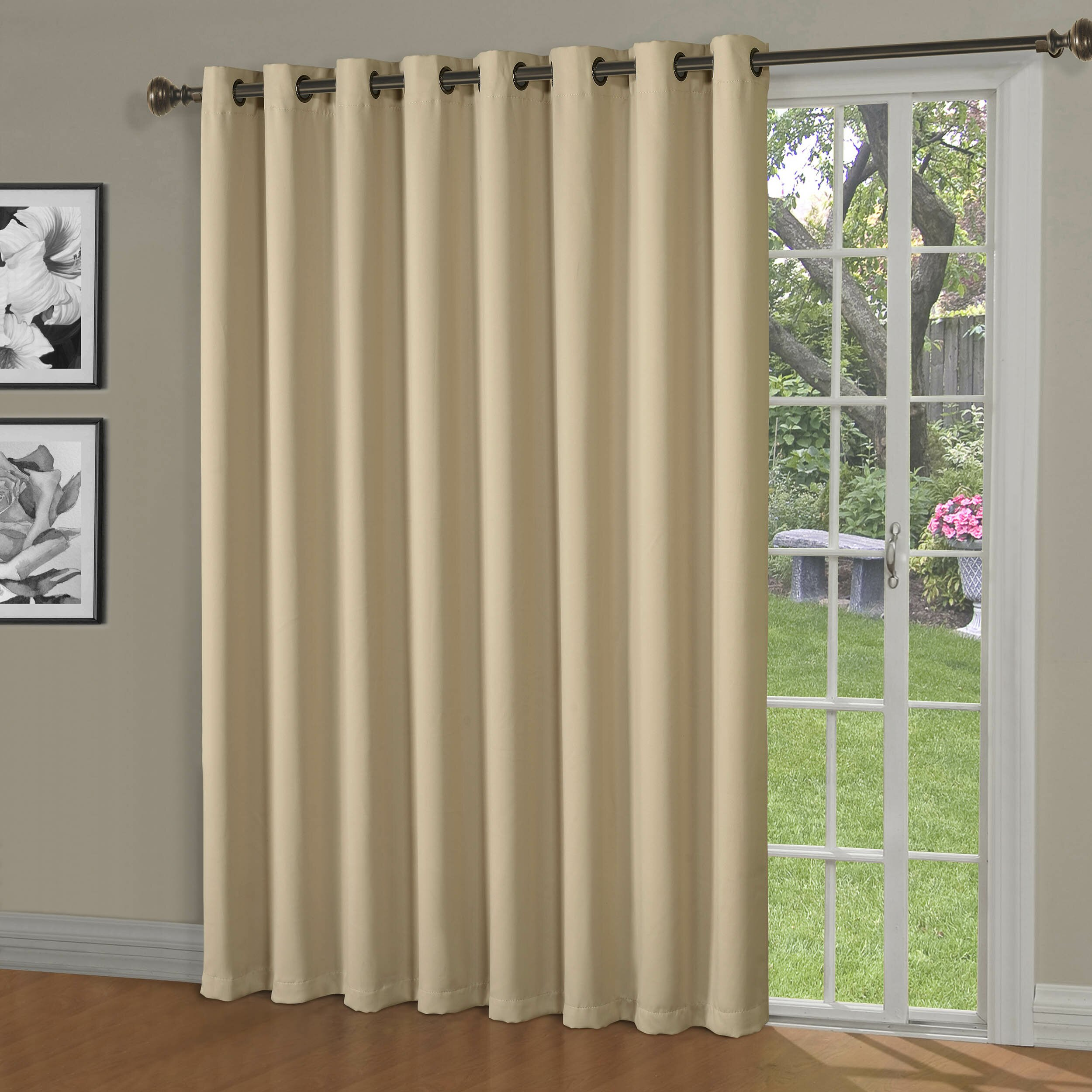 Maya Blackout Thermal Patio Door Grommet Single Curtain