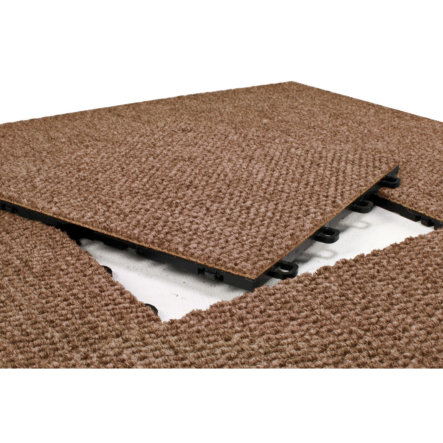 Premium Interlocking Basement Floor Carpet Tile In Brown By BlockTile